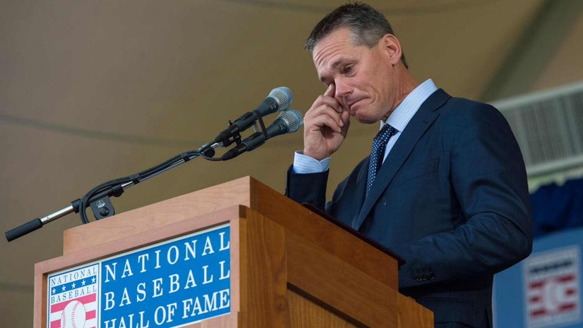 Jul 26, 2015; Cooperstown, NY, USA; Hall of Fame Inductee Craig Biggio reacts during his acceptance speech into the Hall of Fame Induction Ceremonies at Clark Sports Center. Mandatory Credit: Gregory J. Fisher-USA TODAY Sports