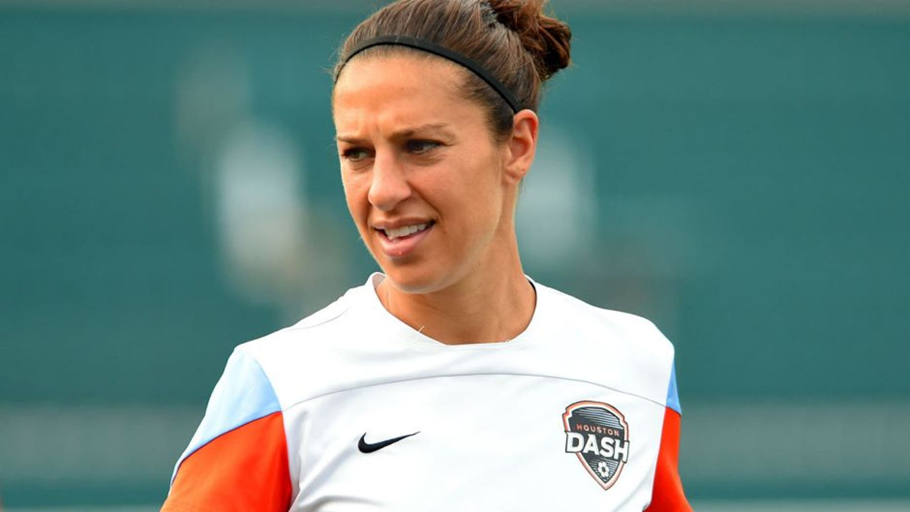 ROCHESTER, NY - JULY 25: Carli Lloyd #10 of the Houston Dash prior to the match against the Western New York Flash at Sahlen's Stadium on July 25, 2015 in Rochester, New York. The Houston Dash defeated the Western New York Flash 1-0. (Photo by Rich Barnes/Getty Images)