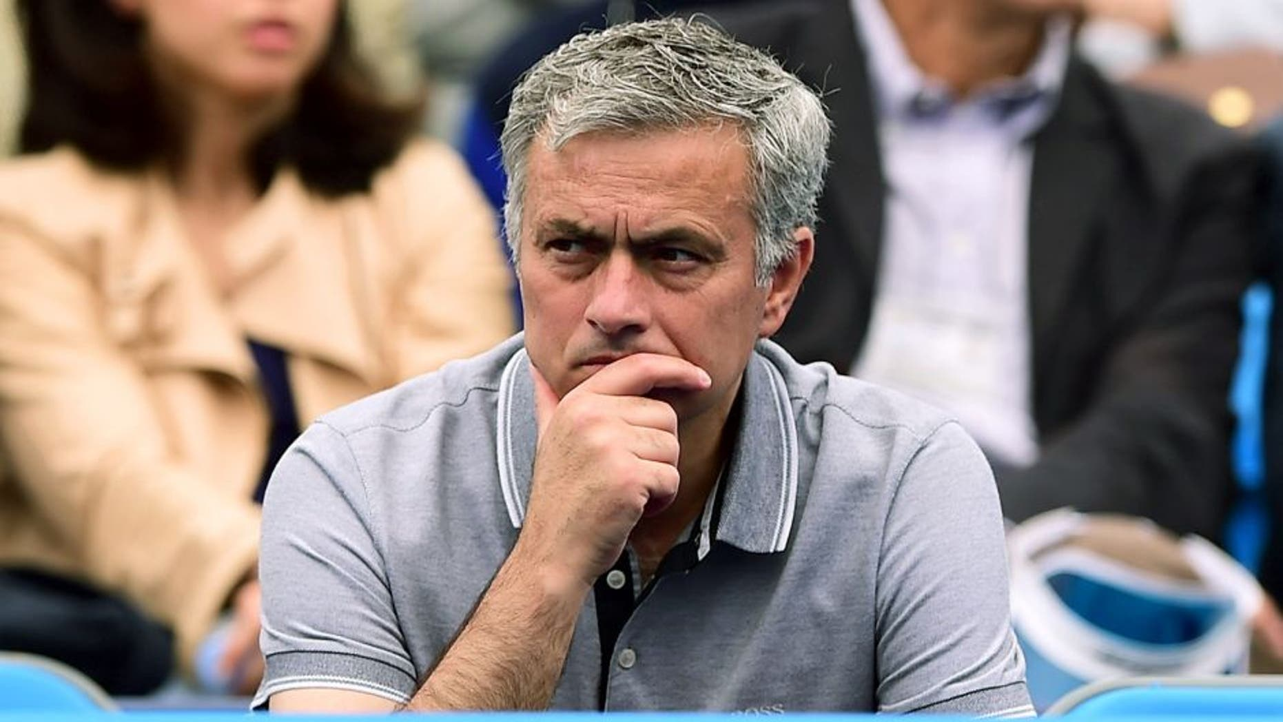 LONDON, ENGLAND - JUNE 20: Chelsea manager Jose Mourinho watches the match between Kevin Anderson of South Africa and Gilles Simon of France during day six of the Aegon Championships at Queen's Club on June 20, 2015 in London, England. (Photo by Shaun Botterill/Getty Images)