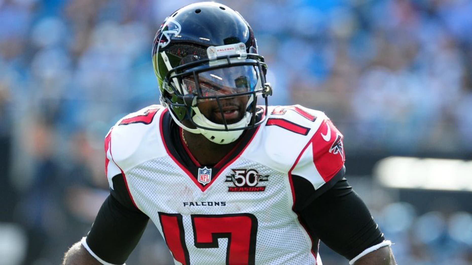 CHARLOTTE, NC - DECEMBER 13: Devin Hester #17 of the Atlanta Falcons looks to return a punt against the Carolina Panthers at Bank Of America Stadium on December 13, 2015 in Charlotte, North Carolina. (Photo by Scott Cunningham/Getty Images) *** Local Caption *** Devin Hester