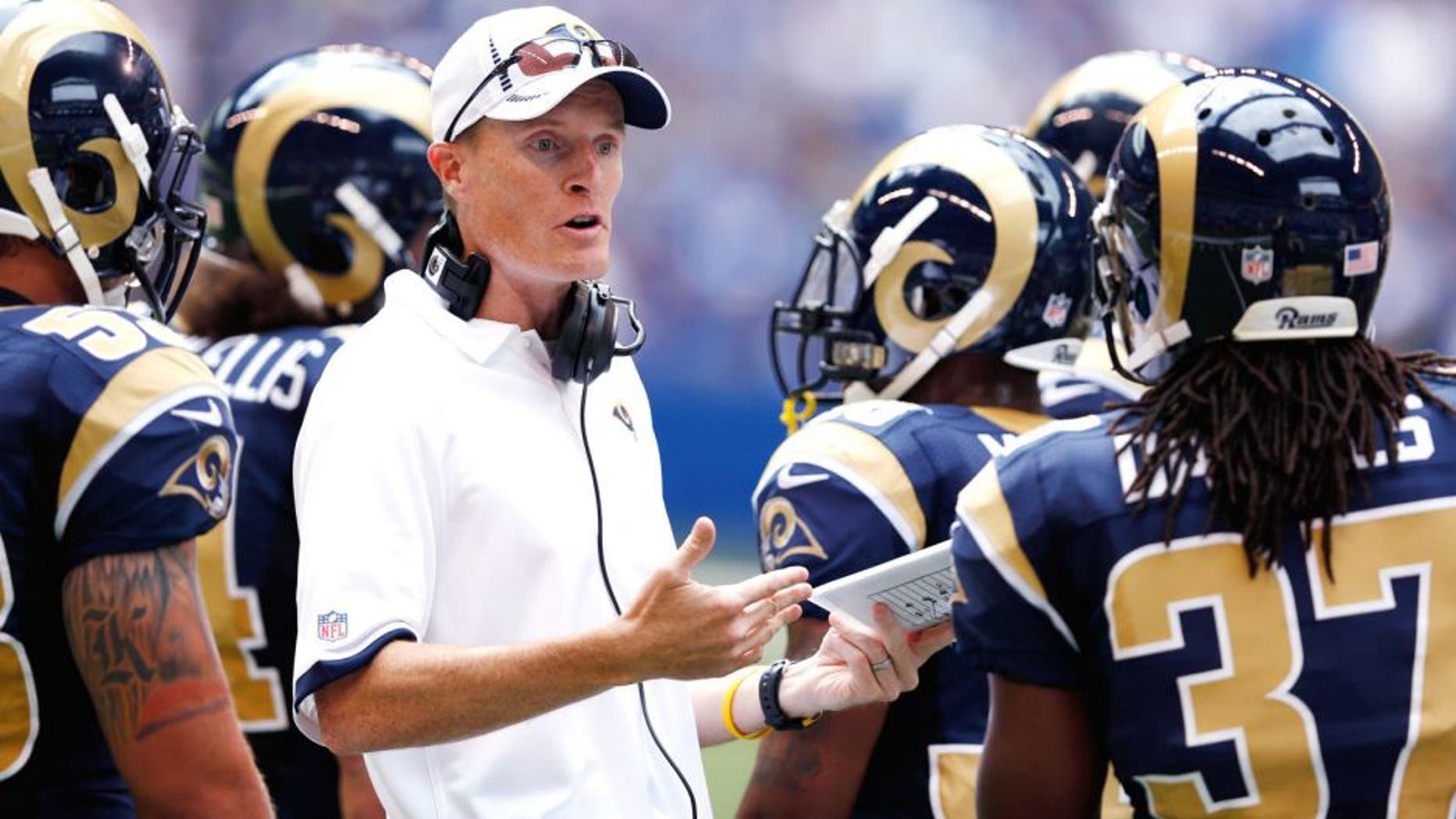 INDIANAPOLIS, IN - AUGUST 12: St. Louis Rams special teams coordinator John Fassel talks to his unit against the Indianapolis Colts during a preseason NFL game at Lucas Oil Stadium on August 12, 2012 in Indianapolis, Indiana. (Photo by Joe Robbins/Getty Images)