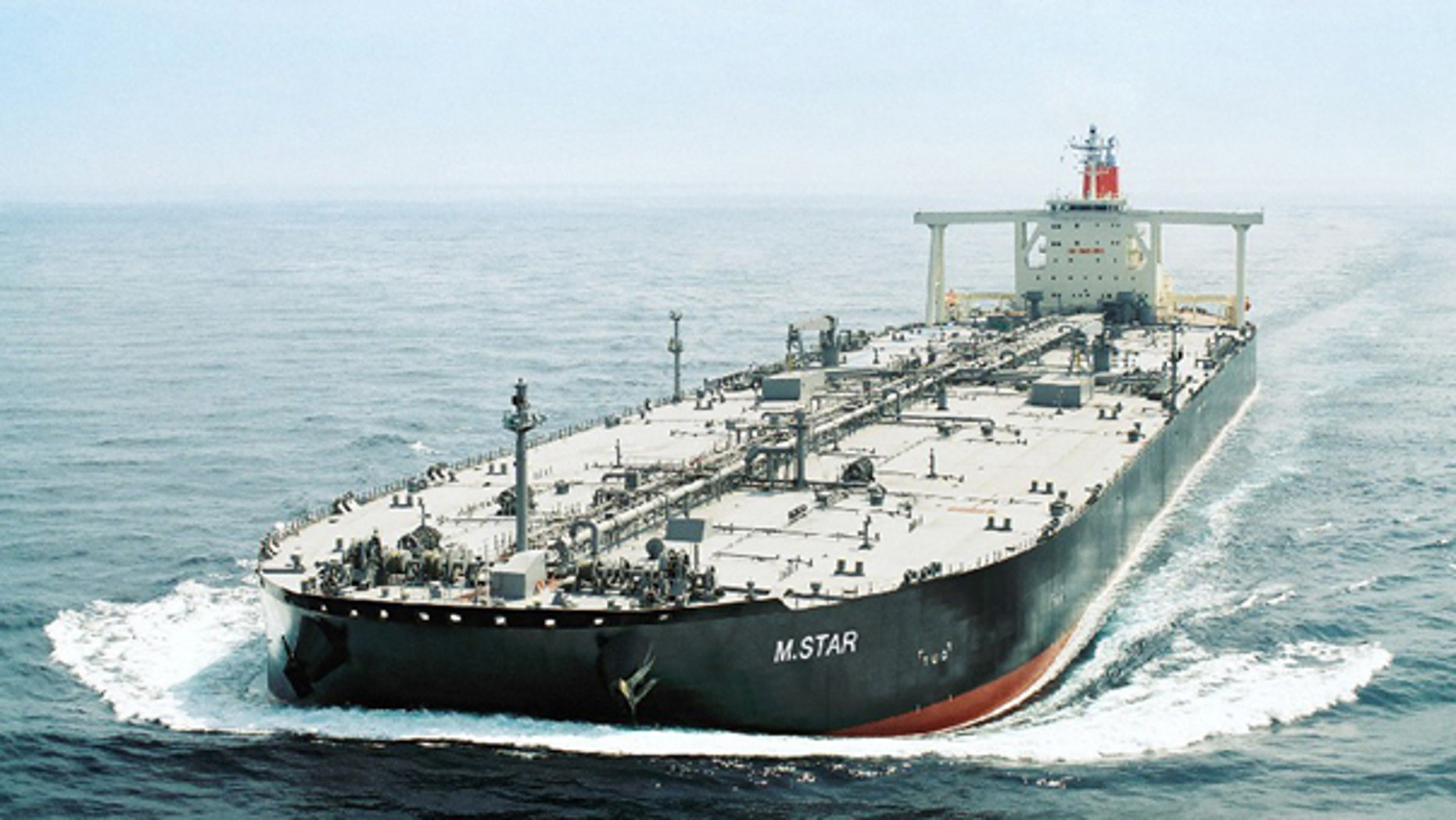 In this undated photo released by Mitsui O.S.K. Lines in Tokyo, Japan's shipping company Mitsui O.S.K. Lines' tanker M. Star is shown. The Japanese shipping company said an explosion, suspected to be an attack, damaged the oil tanker near the mouth of the Persian Gulf on July 28. (AP)