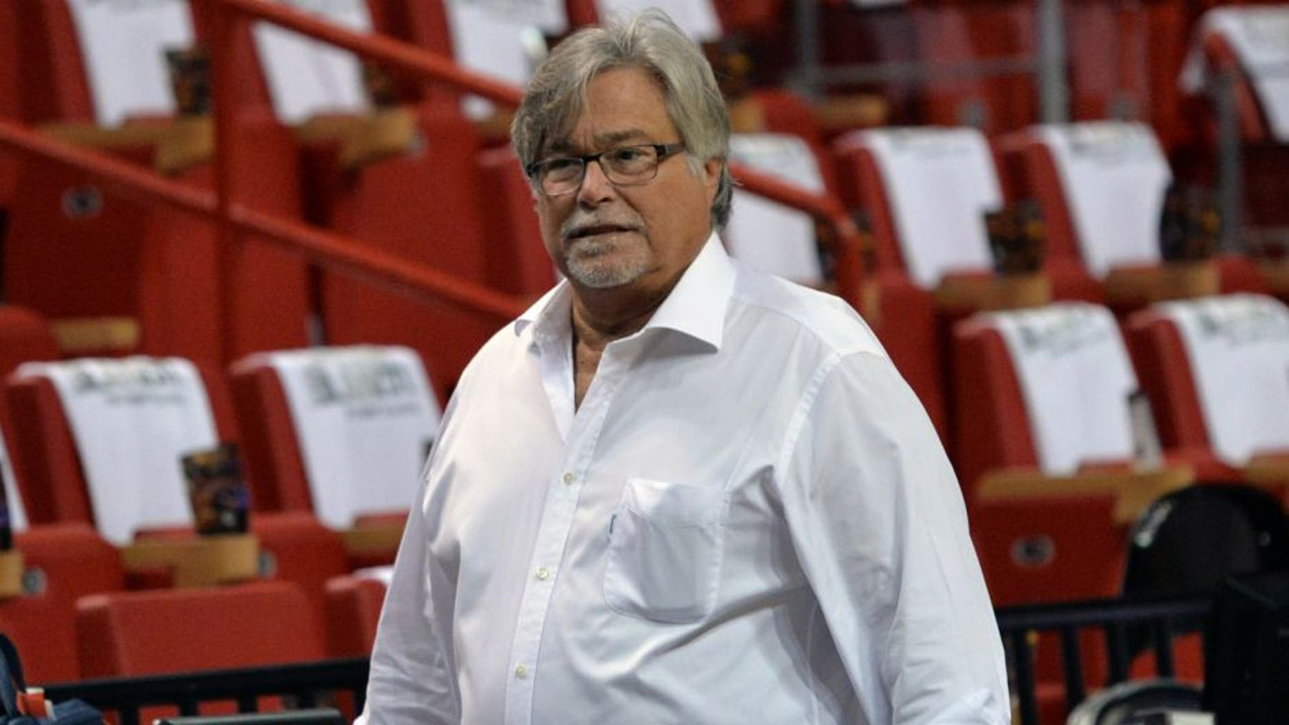May 26, 2014; Miami, FL, USA; Miami Heat owner Micky Arison prior to a game against the Indiana Pacers in game four of the Eastern Conference Finals of the 2014 NBA Playoffs at American Airlines Arena. Mandatory Credit: Steve Mitchell-USA TODAY Sports