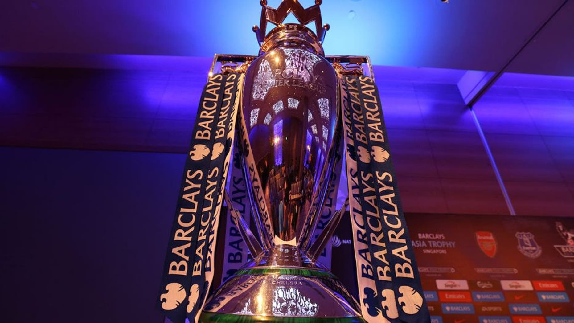SINGAPORE - JULY 14: The Barclays Premier League Trophy is pictured during the Barclays Asia Trophy Press Conference at Grand Hyatt Hotel on July 14, 2015 in Singapore. (Photo by Lionel Ng/Getty Images)