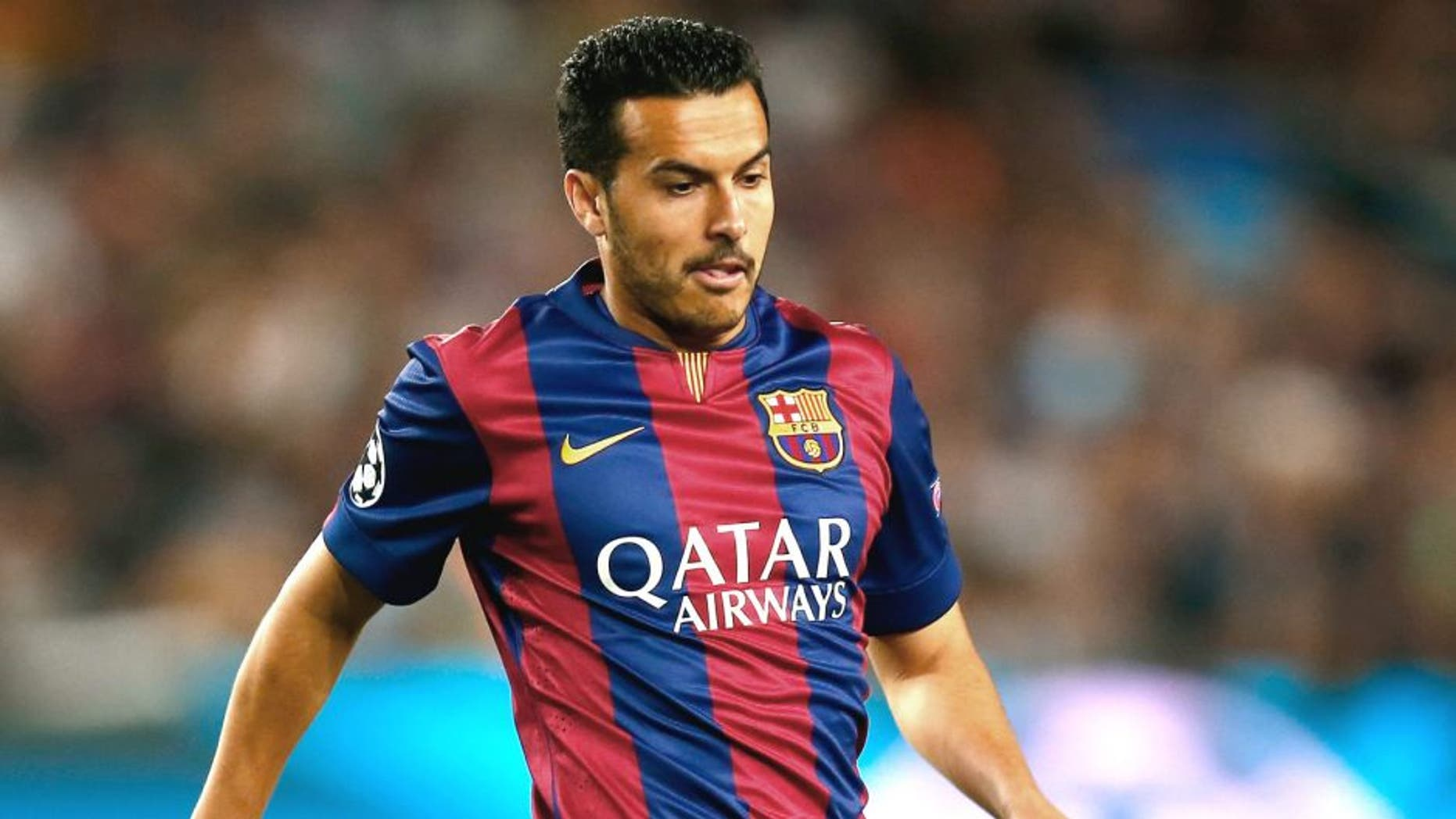 BARCELONA, SPAIN - APRIL 21: Pedro Rodriguez of Barcelona in action during the UEFA Champions League Quarter Final second leg match between FC Barcelona and Paris Saint-Germain at Camp Nou on April 21, 2015 in Barcelona, Spain. (Photo by Clive Rose/Getty Images)