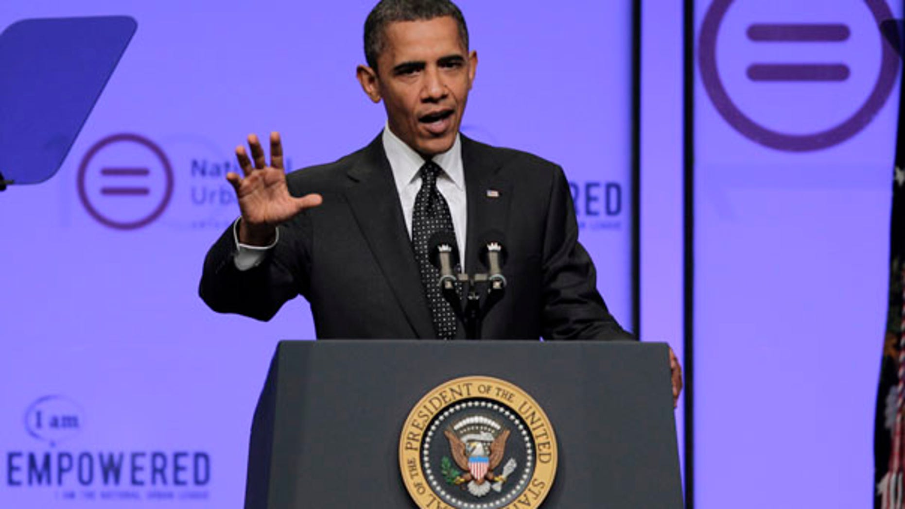 """President Barack Obama highlights his """"Race to the Top"""" education agenda in a speech to the National Urban League conference in Washington, Thursday, July 29, 2010. (AP Photo/J. Scott Applewhite)"""