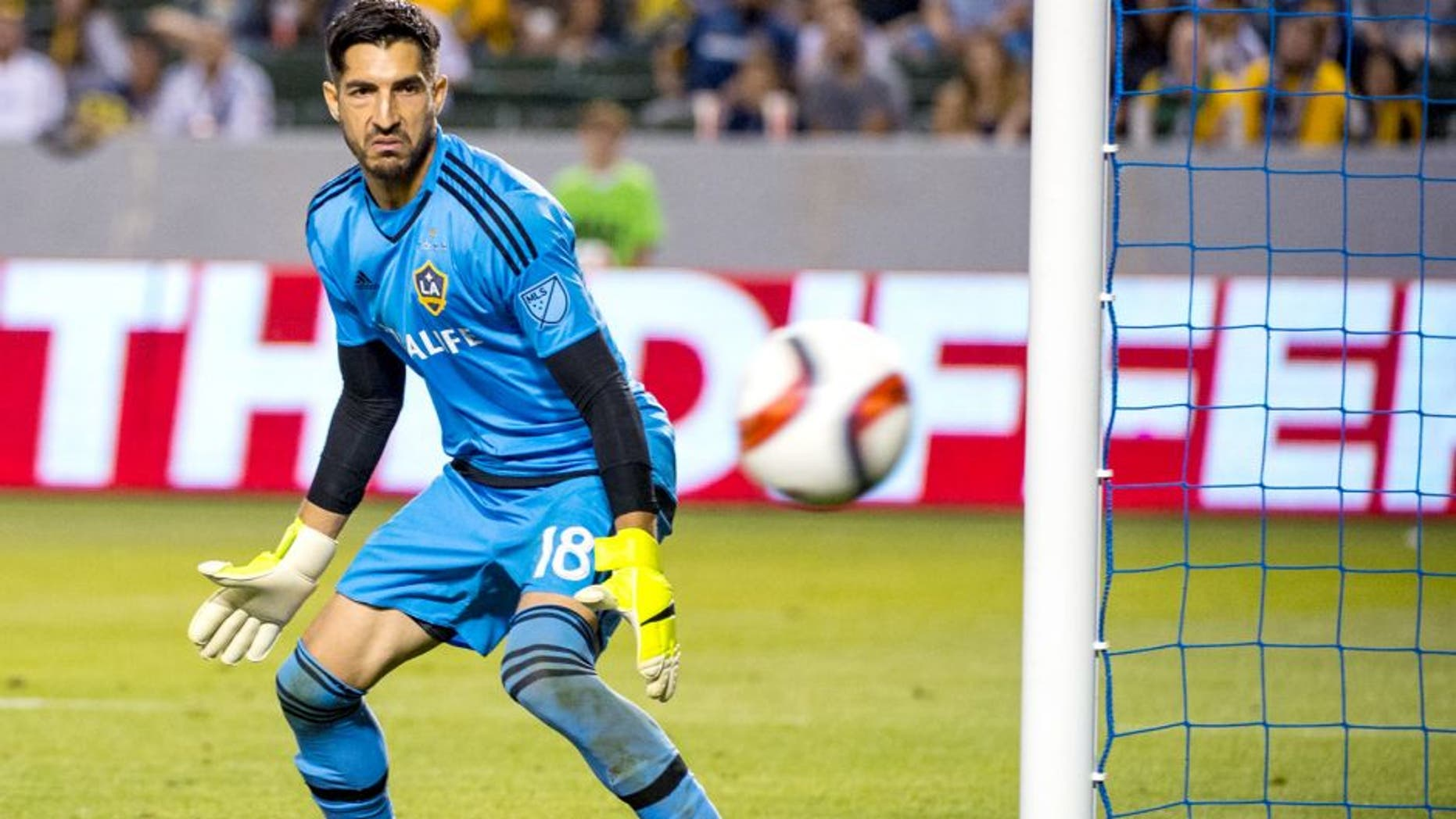 CARSON, CA - JUNE 24: Jaime Penedo (18) of Los Angeles Galaxy watches a shot fly safely by during Los Angeles Galaxy's MLS match against Portland Timbers at the StubHub Center on June 24, 2015 in Carson, California. The LA Galaxy won the match 5-0 (Photo: Shaun Clark/Getty Images)