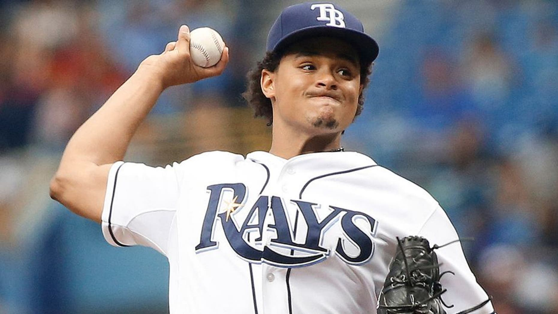 ST. PETERSBURG, FL - JULY 29: Chris Archer #22 of the Tampa Bay Rays pitches during the first inning of a game against the Detroit Tigers on July 29, 2015 at Tropicana Field in St. Petersburg, Florida. (Photo by Brian Blanco/Getty Images)