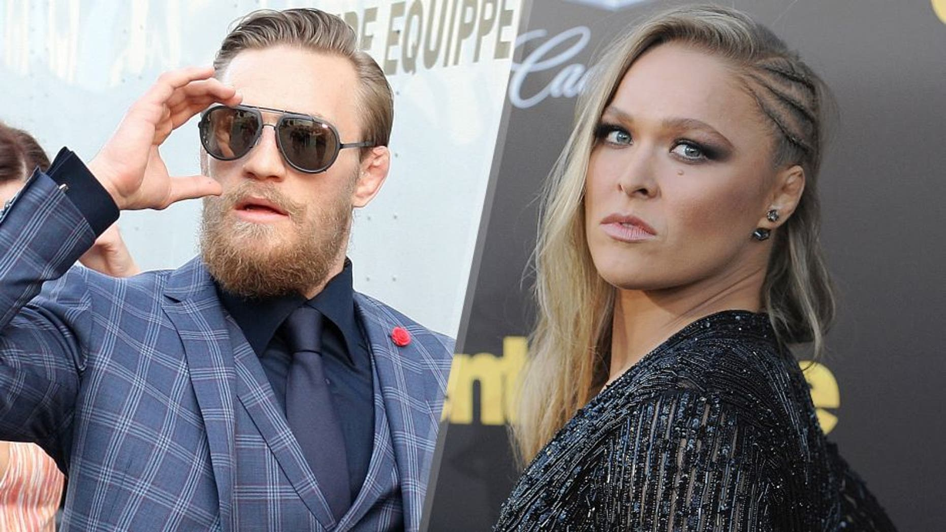 Conor McGregor arrives backstage during the UFC 189 event inside MGM Grand Garden Arena on July 11, 2015 in Las Vegas, Nevada. (Photo by Mitch Viquez/Zuffa LLC/Zuffa LLC via Getty Images) Ronda Rousey arrives at the Los Angeles Premiere 'Entourage' at Regency Village Theatre on June 1, 2015 in Westwood, California. (Photo by Jon Kopaloff/FilmMagic)