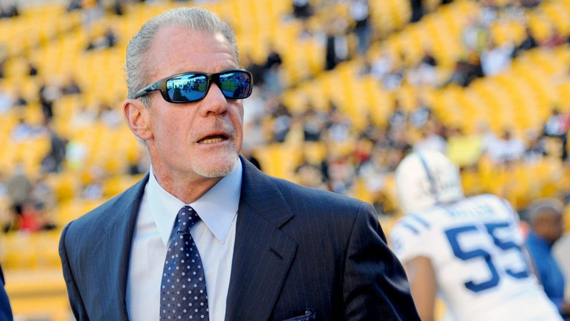 PITTSBURGH, PA - OCTOBER 26: Team owner Jim Irsay of the Indianapolis Colts looks on from the sideline before a game against the Pittsburgh Steelers at Heinz Field on October 26, 2014 in Pittsburgh, Pennsylvania. The Steelers defeated the Colts 51-34. (Photo by George Gojkovich/Getty Images)