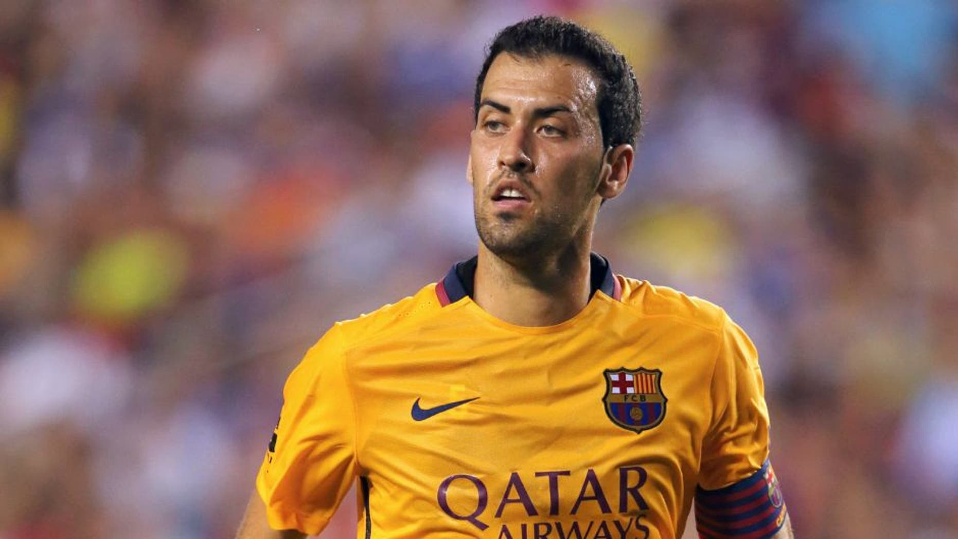 LANDOVER, UNITED STATES - JULY 28: Sergio Busquets of FC Barcelona during the International Champions Cup match between Barcelona and Chelsea at FedExField on July 28, 2015 in Landover, Maryland. (Photo by Matthew Ashton - AMA/Getty Images)