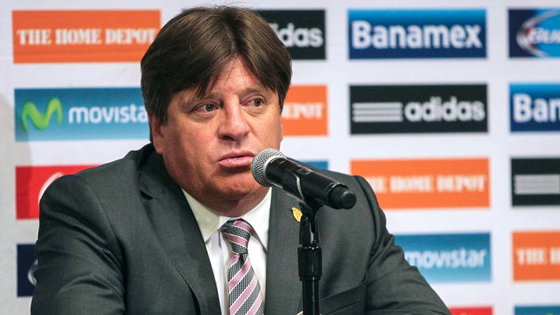 Jul 1, 2015; Houston, TX, USA; Mexico head coach Miguel Herrera talks with media after a match against Honduras at NRG Stadium. Mexico and Honduras played to a 0-0 tie. Mandatory Credit: Troy Taormina-USA TODAY Sports