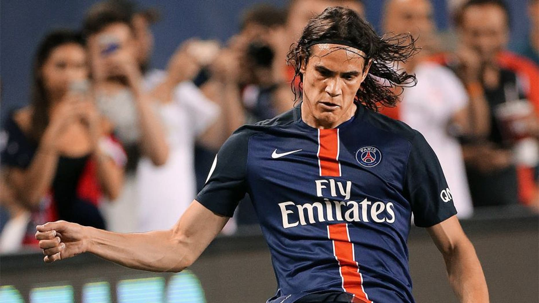 CHICAGO, IL - JULY 29: Edinson Cavani of PSG in action during the International Champions Cup 2015 game between Manchester United and Paris Saint-Germain at Soldier Field on July 29, 2015 in Chicago, Illinois. (Photo by Jean Catuffe/Getty Images)