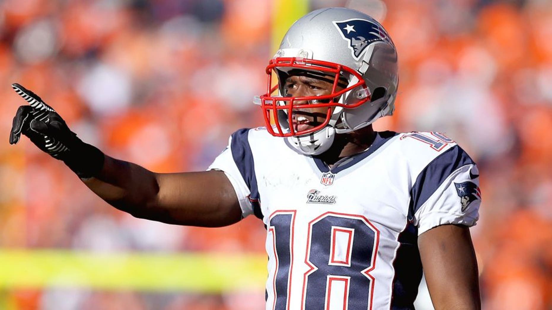 January 19, 2014; Denver, CO, USA; New England Patriots wide receiver Matthew Slater against the Denver Broncos in the 2013 AFC Championship football game at Sports Authority Field at Mile High. Mandatory Credit: Mark J. Rebilas-USA TODAY Sports