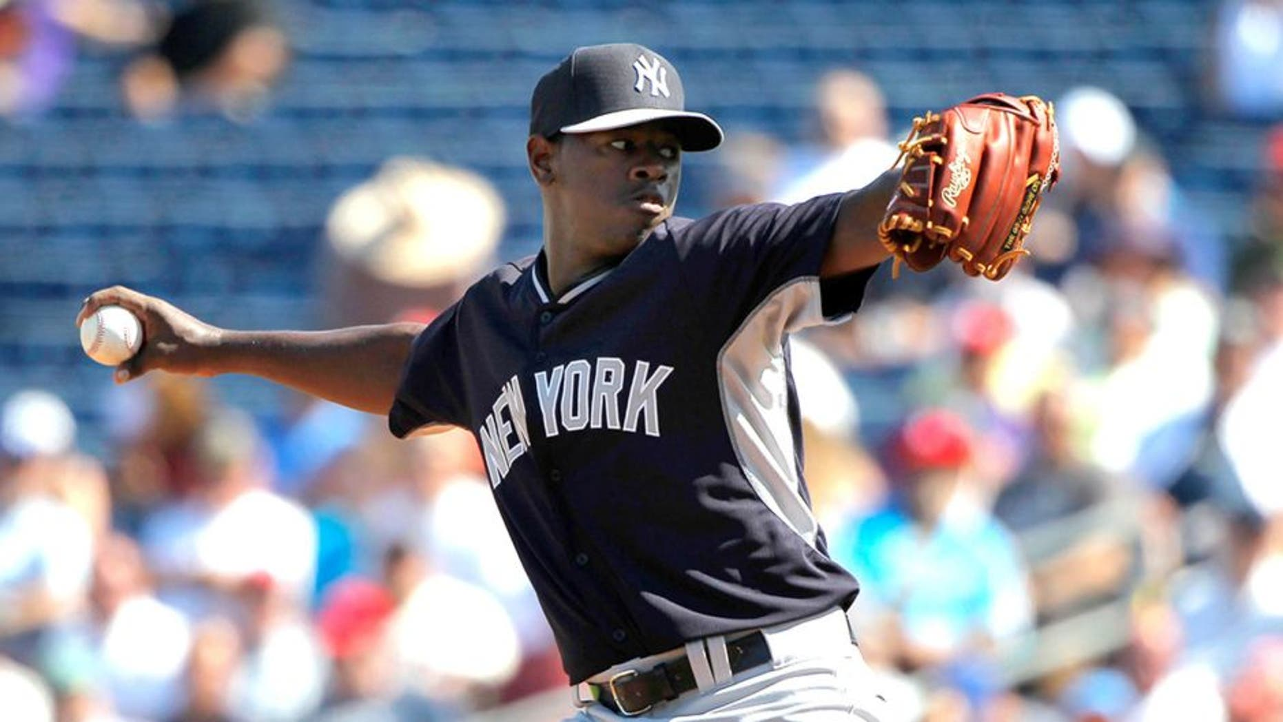 Mar 3, 2015; Clearwater, FL, USA; New York Yankees starting pitcher Luis Severino (91) throws a pitch during a spring training baseball game at Bright House Field. Mandatory Credit: Kim Klement-USA TODAY Sports