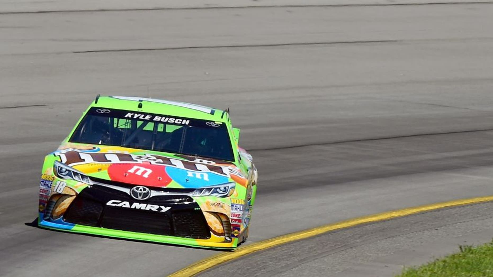 Kyle Busch, driver of the #18 M&M's Crispy Toyota, practices for the NASCAR Sprint Cup Series Windows 10 400 at Pocono Raceway on July 31, 2015 in Long Pond, Pennsylvania. (Photo by Jared C. Tilton/Getty Images)