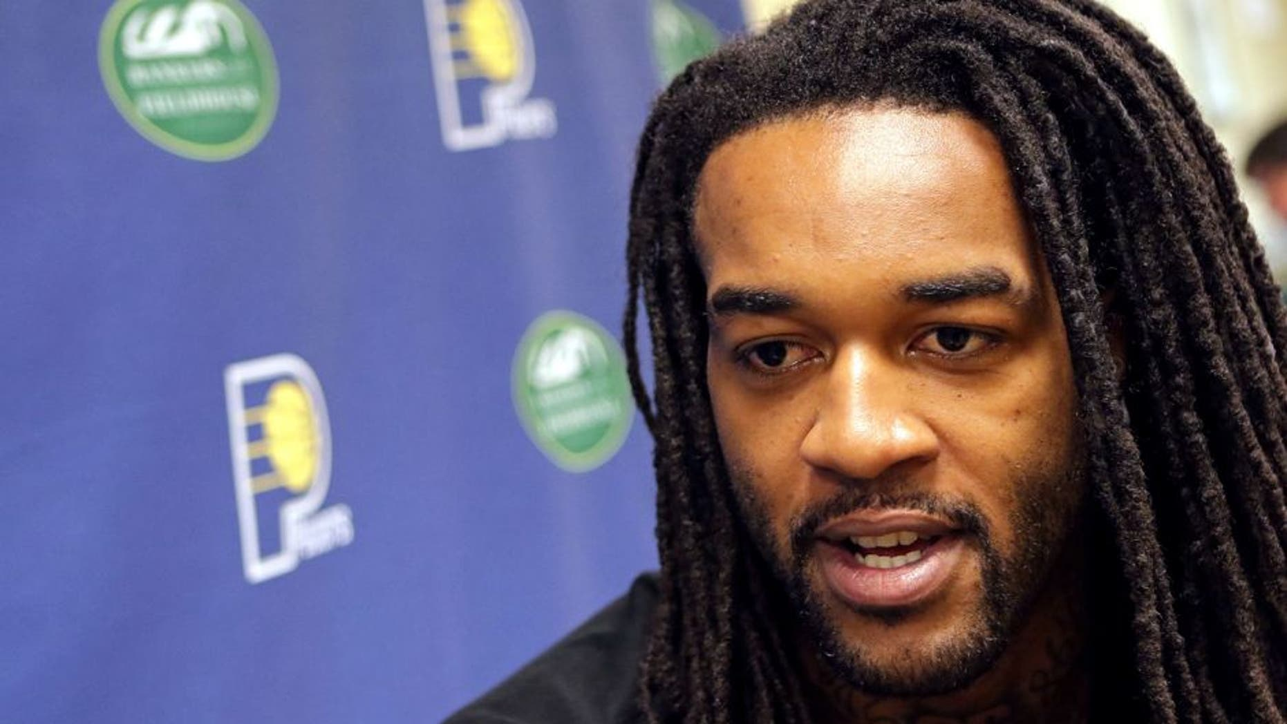 INDIANAPOLIS - JULY 14: Jordan Hill #27 of the Indiana Pacers speaks to the media at Bankers Life Fieldhouse on July 14, 2015 in Indianapolis, Indiana. NOTE TO USER: User expressly acknowledges and agrees that, by downloading and or using this Photograph, user is consenting to the terms and condition of the Getty Images License Agreement. Mandatory Copyright Notice: 2015 NBAE (Photo by Ron Hoskins/NBAE via Getty Images)