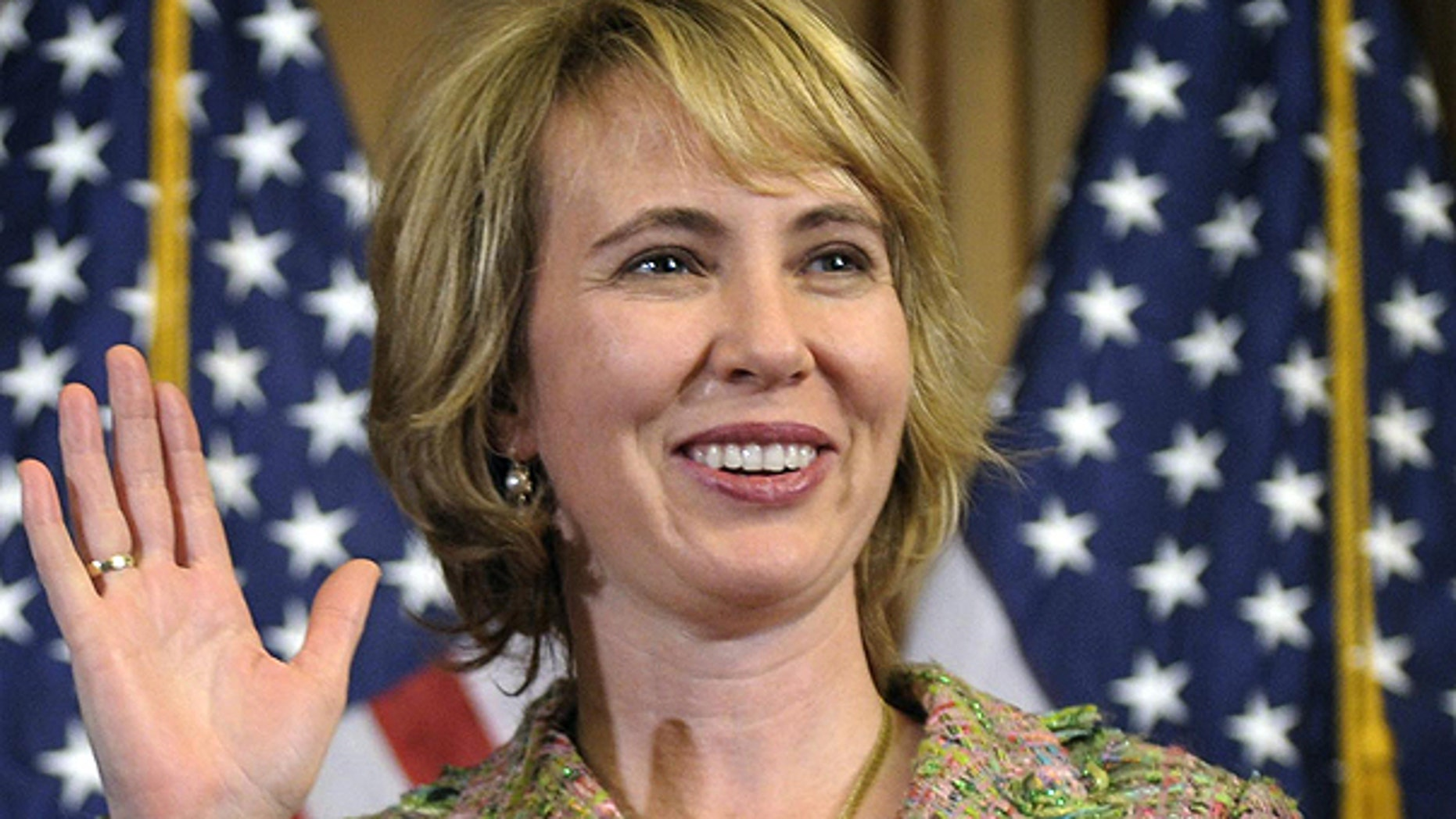 Jan. 5: Rep. Gabrielle Giffords, D-Ariz., takes part in a reenactment of her swearing-in, on Capitol Hill in Washington.