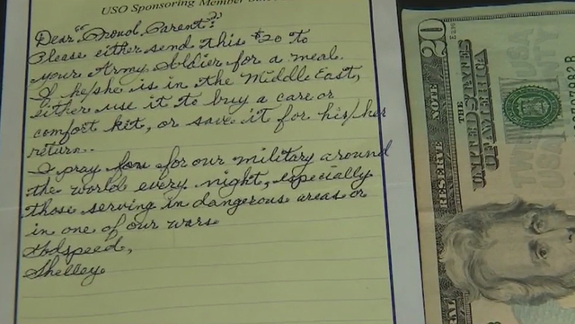 The mom in Sun City, Arizona, received the note on her car, signed, 'Shelley.'
