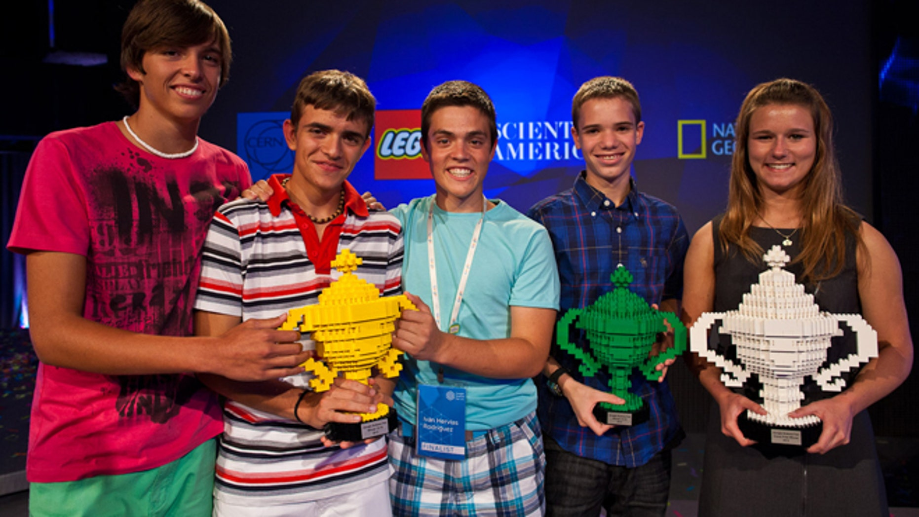 July 24, 2012: The winners of the 2012 Google Science Fair receive prizes from Google and partners CERN, LEGO, National Geographic and Scientific American.