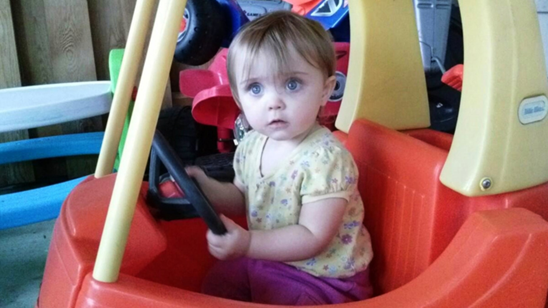 May 8, 2013: This recent but undated family photo shows 18-month-old Lana Bailey. The bodies of a woman and two men who were found slain on an eastern Kansas farm were those of a young mother who went missing last week with her daughter, Lana, and two men who lived there, authorities said.