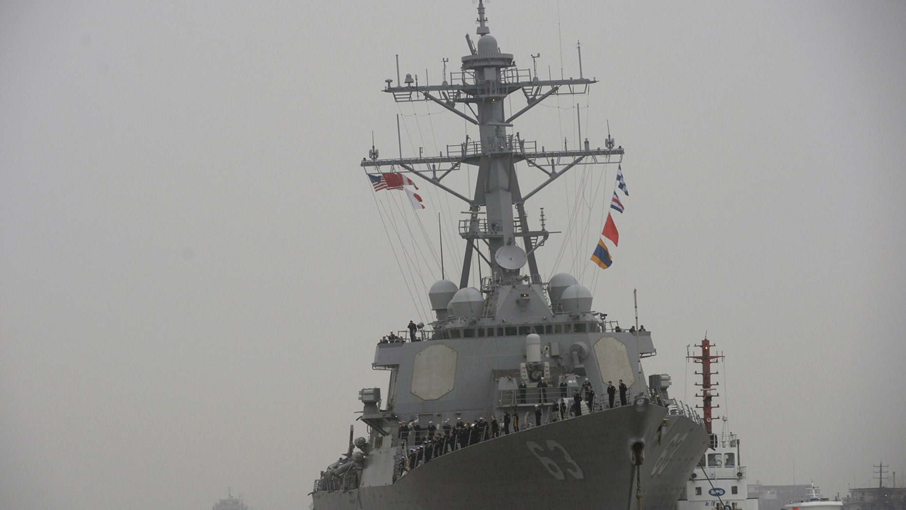 The destroyer USS Stethem arrives for an official visit to Shanghai, China on Nov. 16, 2015.