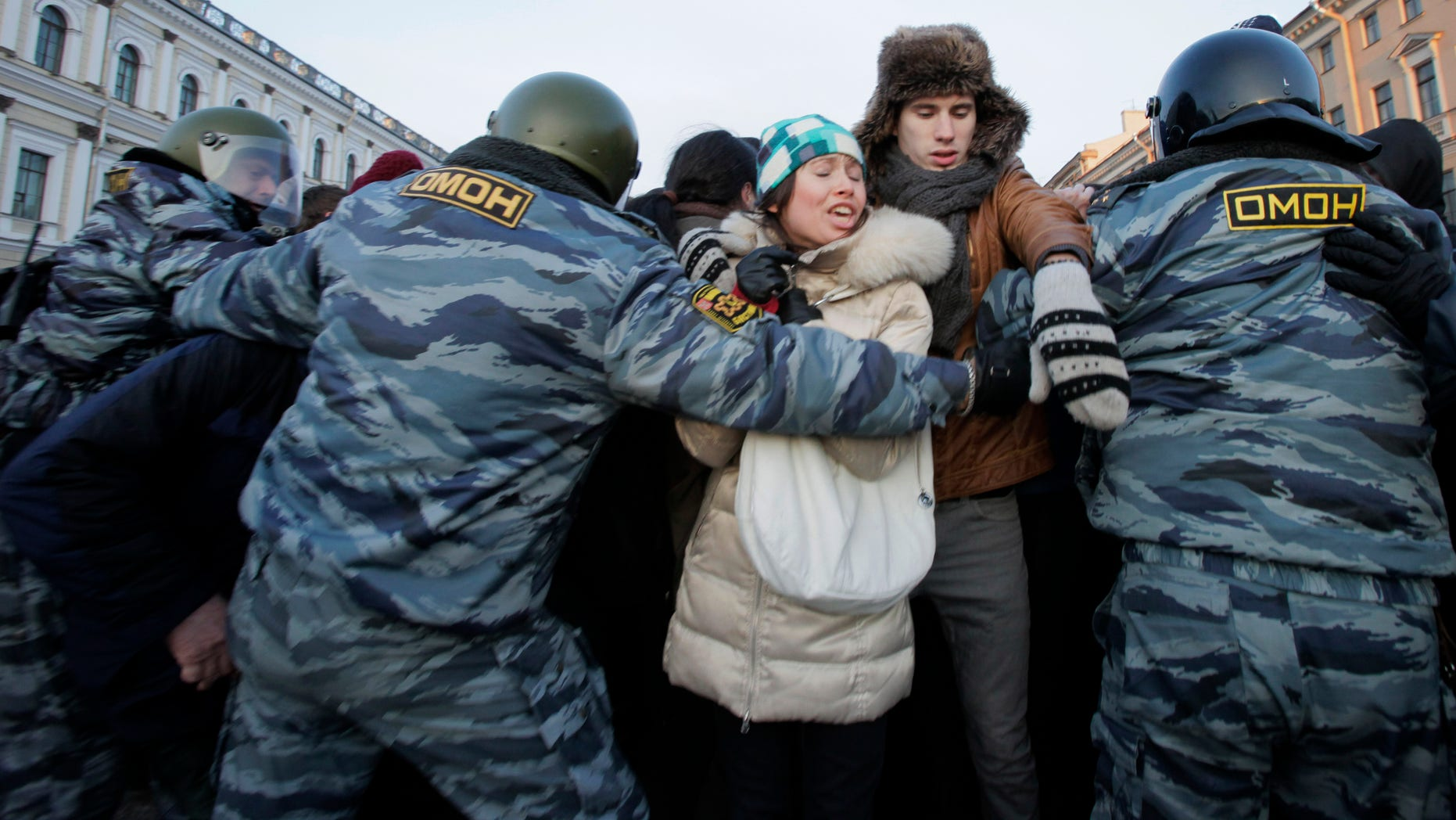 March 5: More than 100 protesters were arrested in St. Petersburg, where some 2,000 gathered for an unauthorized rally to protest Prime Minister Vladimir Putin's victory in the Russian presidential election.