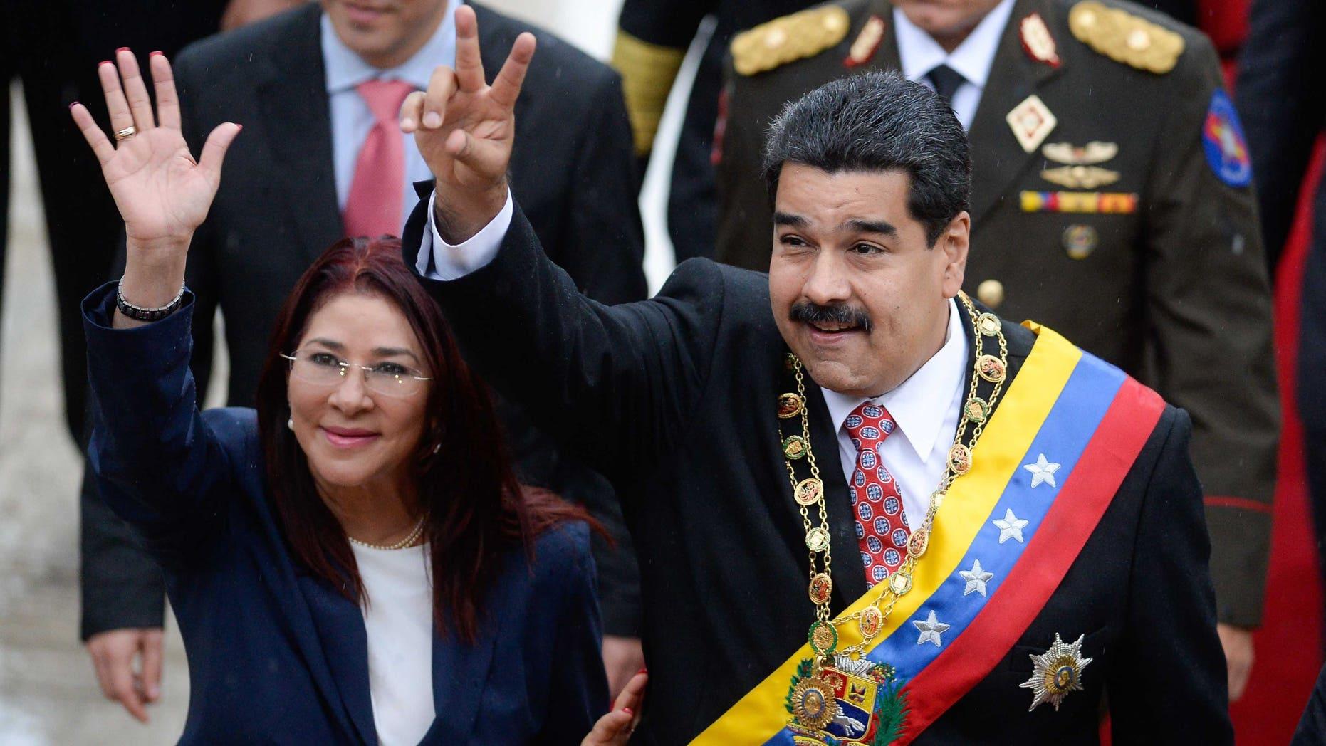 Venezuelan President Nicolas Maduro and his wife Cilia Flores on July 5, 2015.