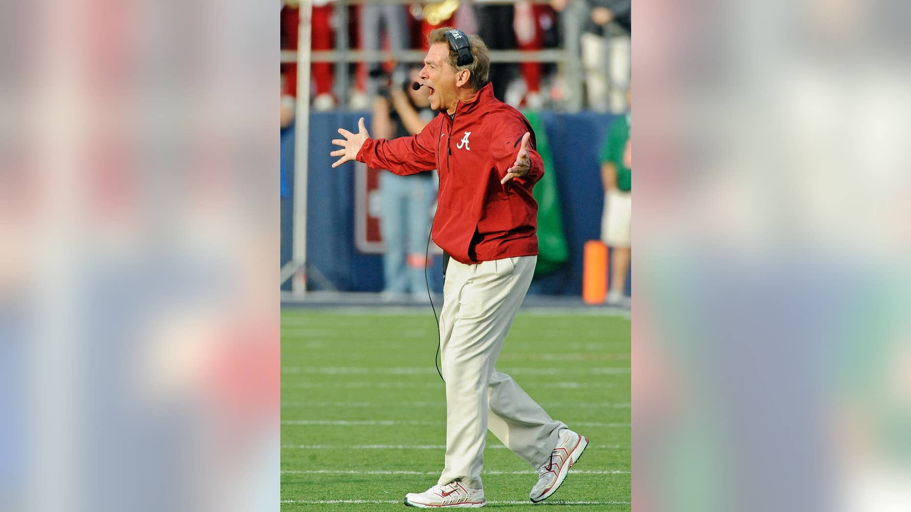 Alabama head coach Nick Saban reacts during the second half of an NCAA college football game against Mississippi in Oxford, Miss., Saturday, Oct. 4, 2014. (AP Photo/The Daily Mississippian, Thomas Graning)