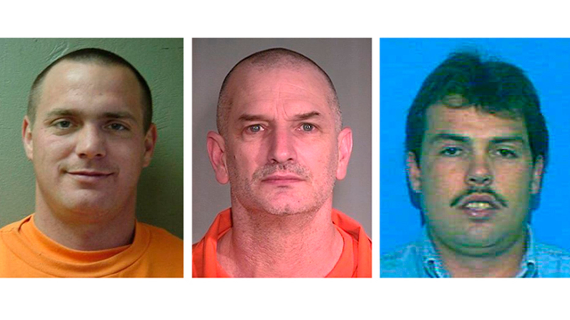 In this combination of undated photos provided by the Mohave County Sheriff's Office, Tracy Province, left, John McClusky, center, Daniel Renwick are shown. The three inmates, all convicted of murder, escaped from a northwest Arizona prison on Friday, July 30, 2010. The men are considered armed and dangerous. (AP Photo/Mohave County Sheriff's Office)