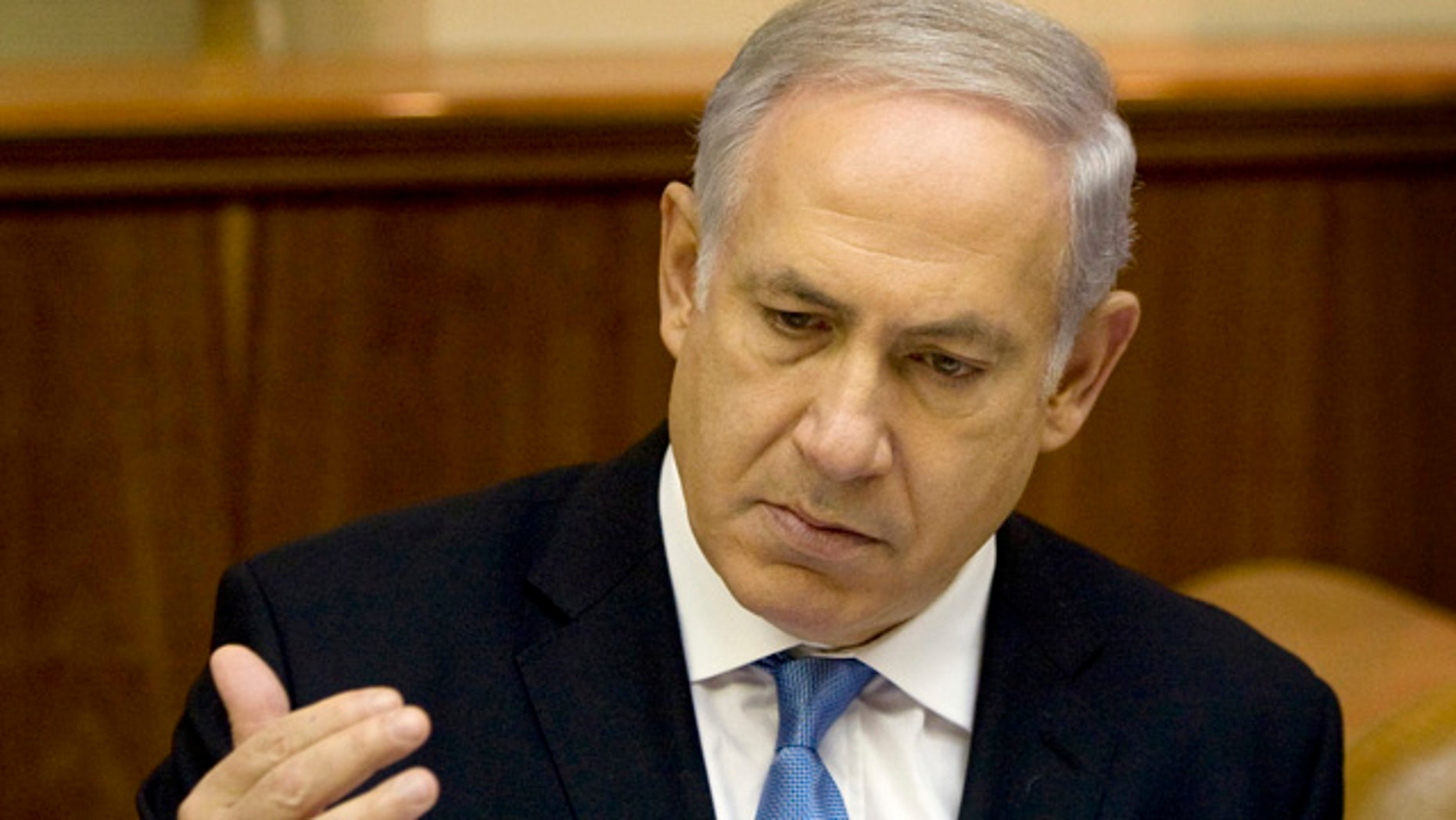 Aug. 1: Israeli Prime Minister Benjamin Netanyahu attends the weekly cabinet meeting in his Jerusalem office.