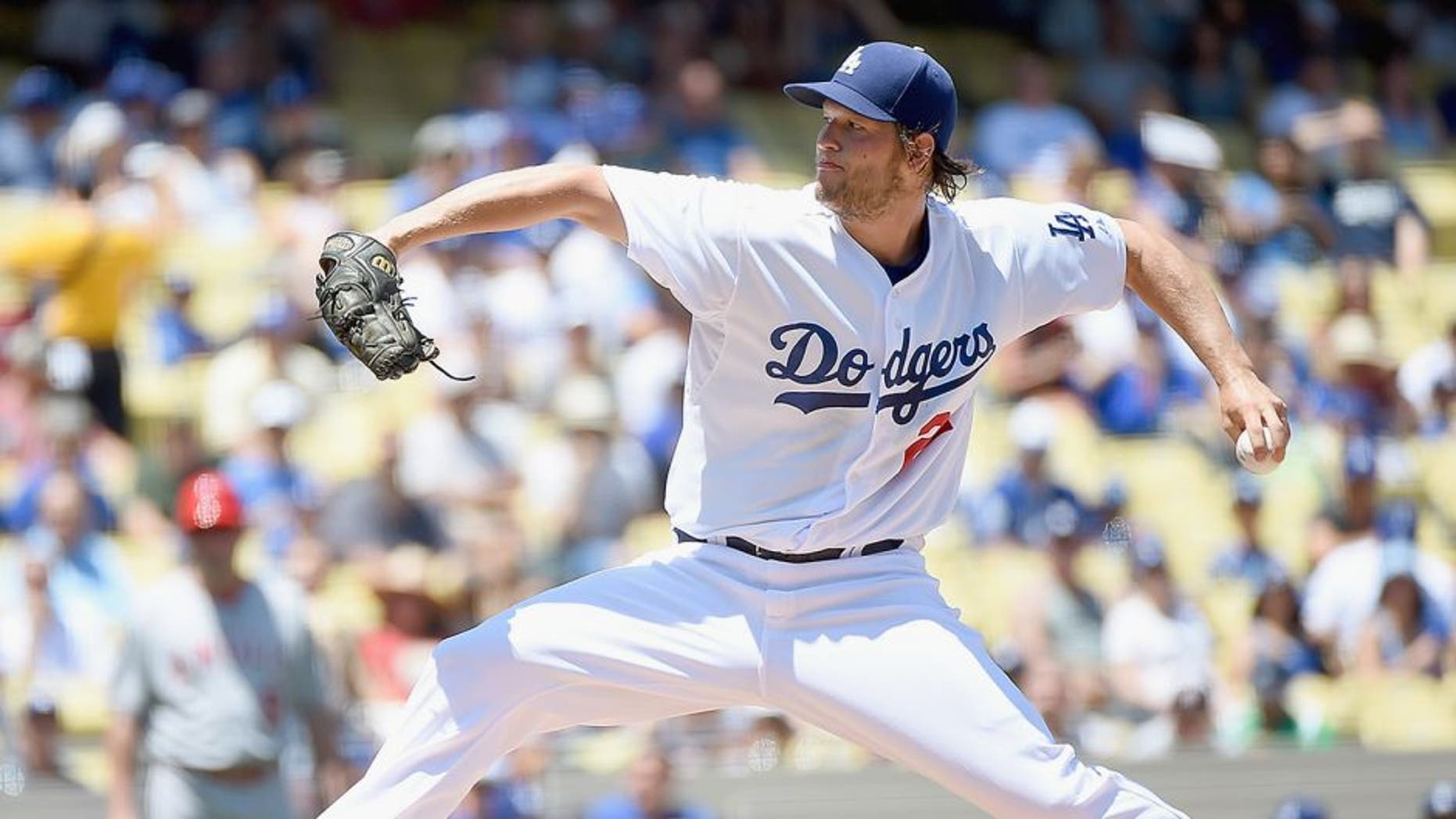LOS ANGELES, CA - AUGUST 01: Clayton Kershaw #22 of the Los Angeles Dodgers pitches to the Los Angeles Angels during the first inning at Dodger Stadium on August 1, 2015 in Los Angeles, California. (Photo by Harry How/Getty Images)
