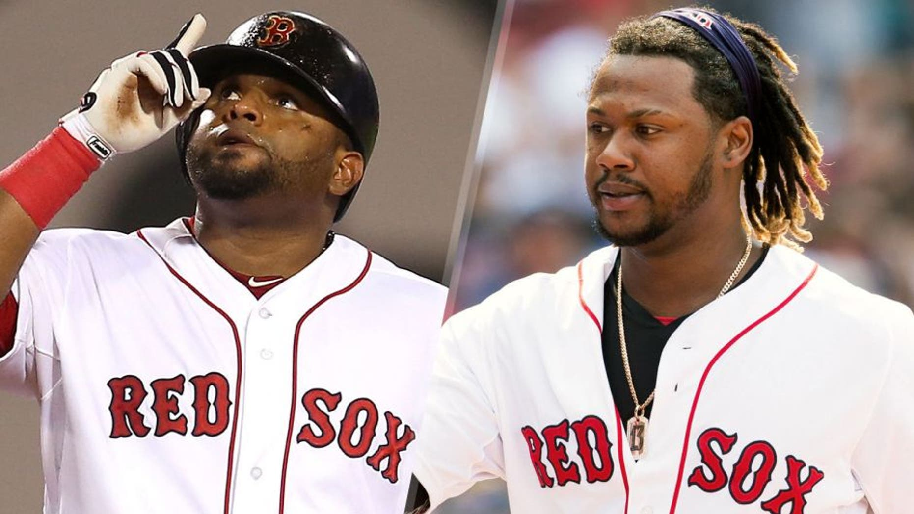 BOSTON, MA - JULY 27: Pablo Sandoval #48 of the Boston Red Sox reacts after a double against the Chicago White Sox in the fifth inning at Fenway Park on July 27, 2015 in Boston, Massachusetts. (Photo by Jim Rogash/Getty Images) BOSTON, MA - JULY 5: Hanley Ramirez #13 of the Boston Red Sox walks to the dug out after scoring after a Pablo Sandoval double during the sixth inning against the Houston Astros and is congratulated by a fan at Fenway Park on July 5, 2015 in Boston, Massachusetts. (Photo by Rich Gagnon/Getty Images)