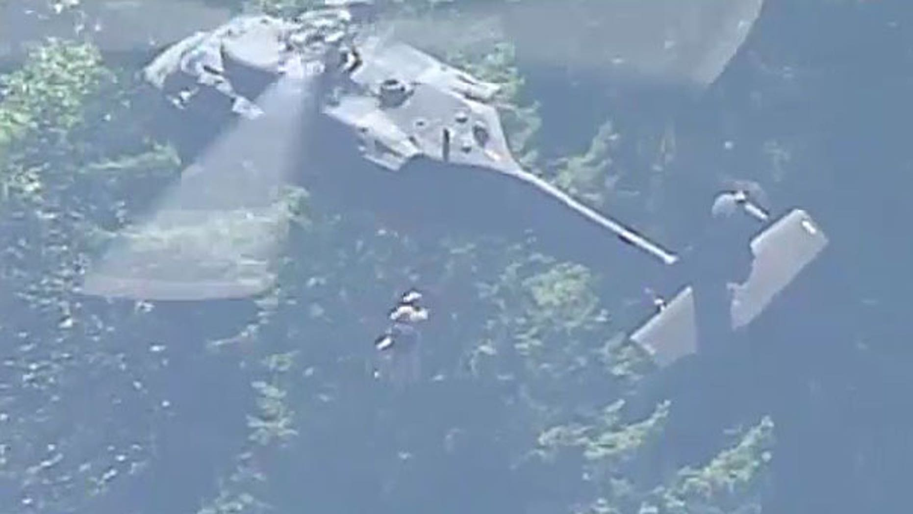 This screengrab from Fox 12 shows Pamela Salant of Portland being rescued in Mount Hood National Forest.