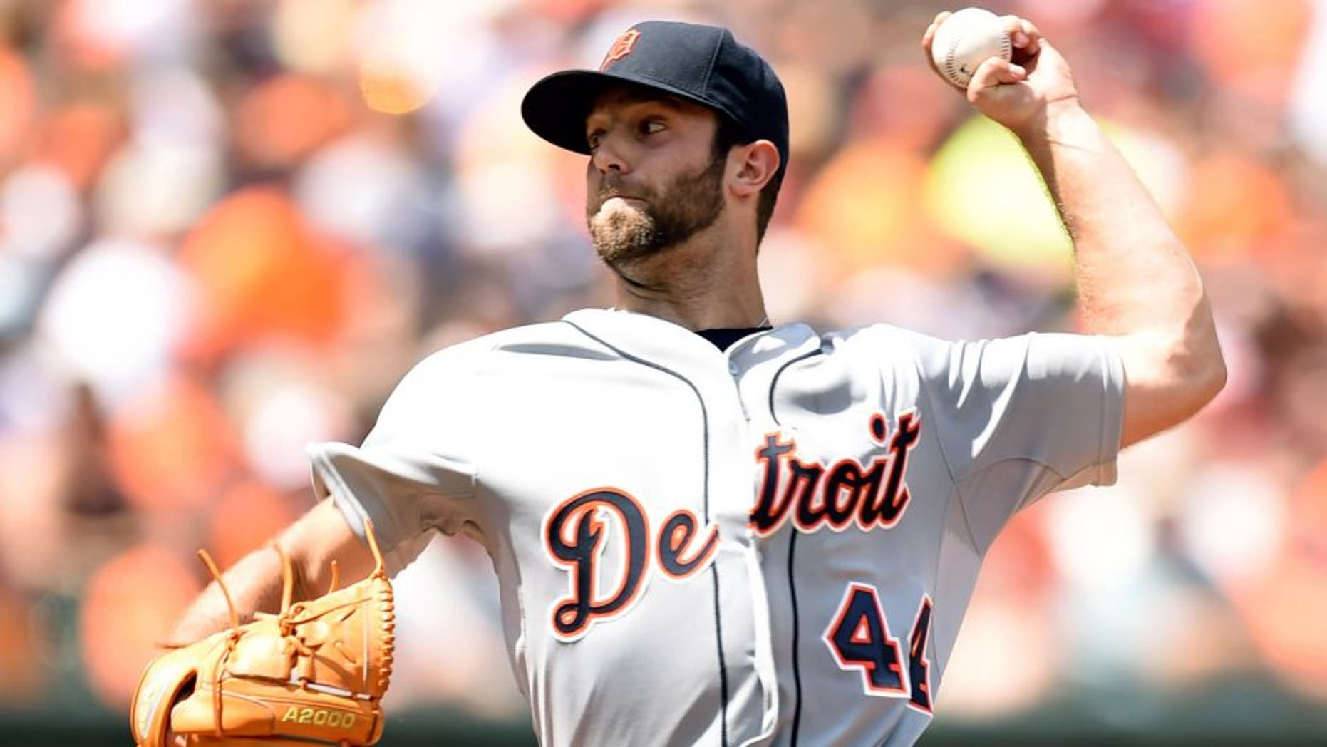 BALTIMORE, MD - AUGUST 02: Daniel Norris #44 of the Detroit Tigers pitches in the third inning during a baseball game against the Baltimore Orioles at Oriole Park at Camden Yards on August 02, 2015 in Baltimore, Maryland. (Photo by Mitchell Layton/Getty Images)