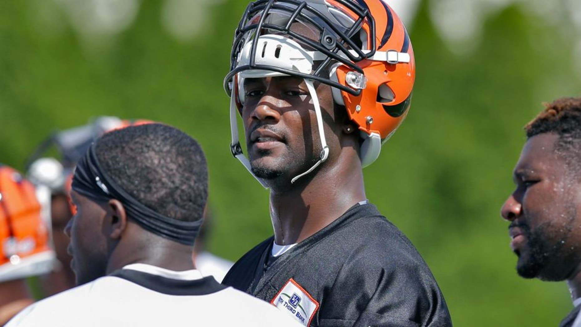 Cincinnati Bengals defensive end Michael Johnson participates in NFL football training camp, Saturday, Aug. 1, 2015, in Cincinnati. (AP Photo/John Minchillo)