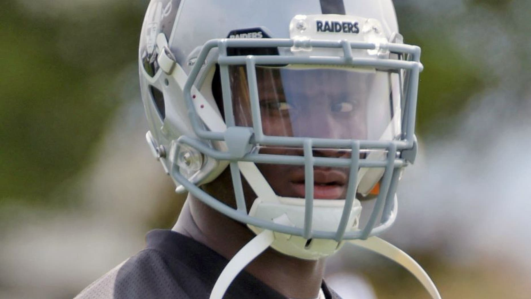 Jun 9, 2015; Oakland, CA, USA; Oakland Raiders running back Latavius Murray (28) at minicamp at the Raiders practice facility. Mandatory Credit: Kirby Lee-USA TODAY Sports