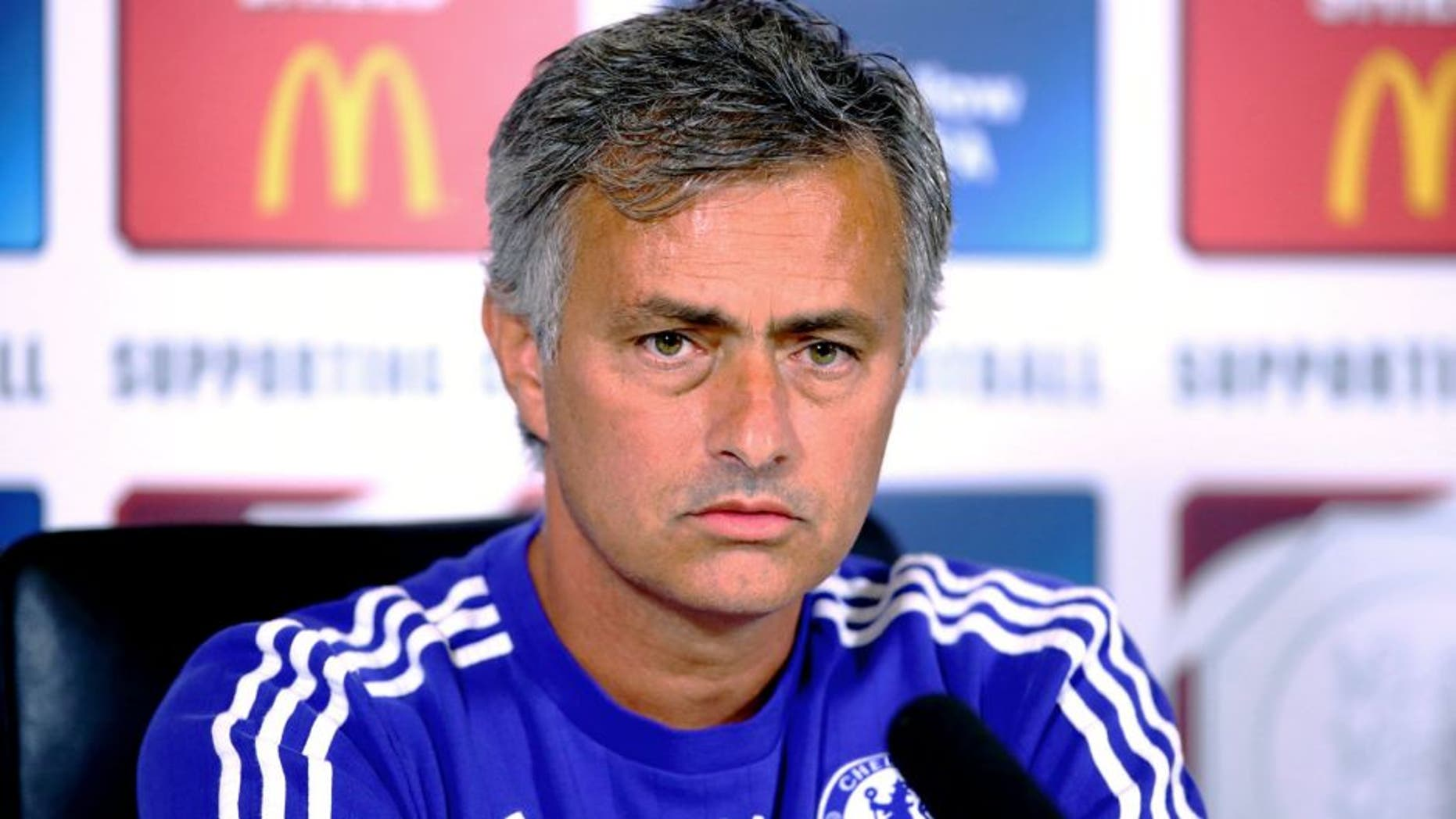 COBHAM, ENGLAND - JULY 31: Jose Mourinho talks during a press conference at Chelsea Training Ground on July 31, 2015 in Cobham, England. (Photo by Jordan Mansfield/Getty Images)