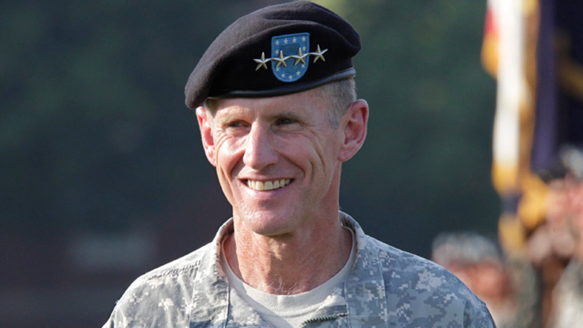 July 23, 2010: Gen. Stanley McChrystal reviews troops for the last time as he is honored at a retirement ceremony at Fort McNair in Washington.