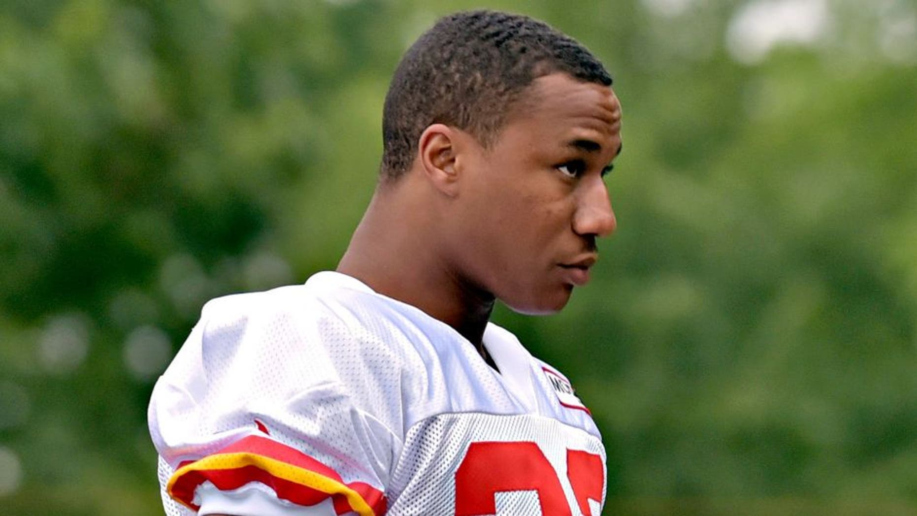 Jul 29, 2015; St. Joseph, MO, USA; Kansas City Chiefs cornerback Marcus Peters (22) walks to the field during the first day of training camp at Missouri Western State University. Mandatory Credit: Denny Medley-USA TODAY Sports