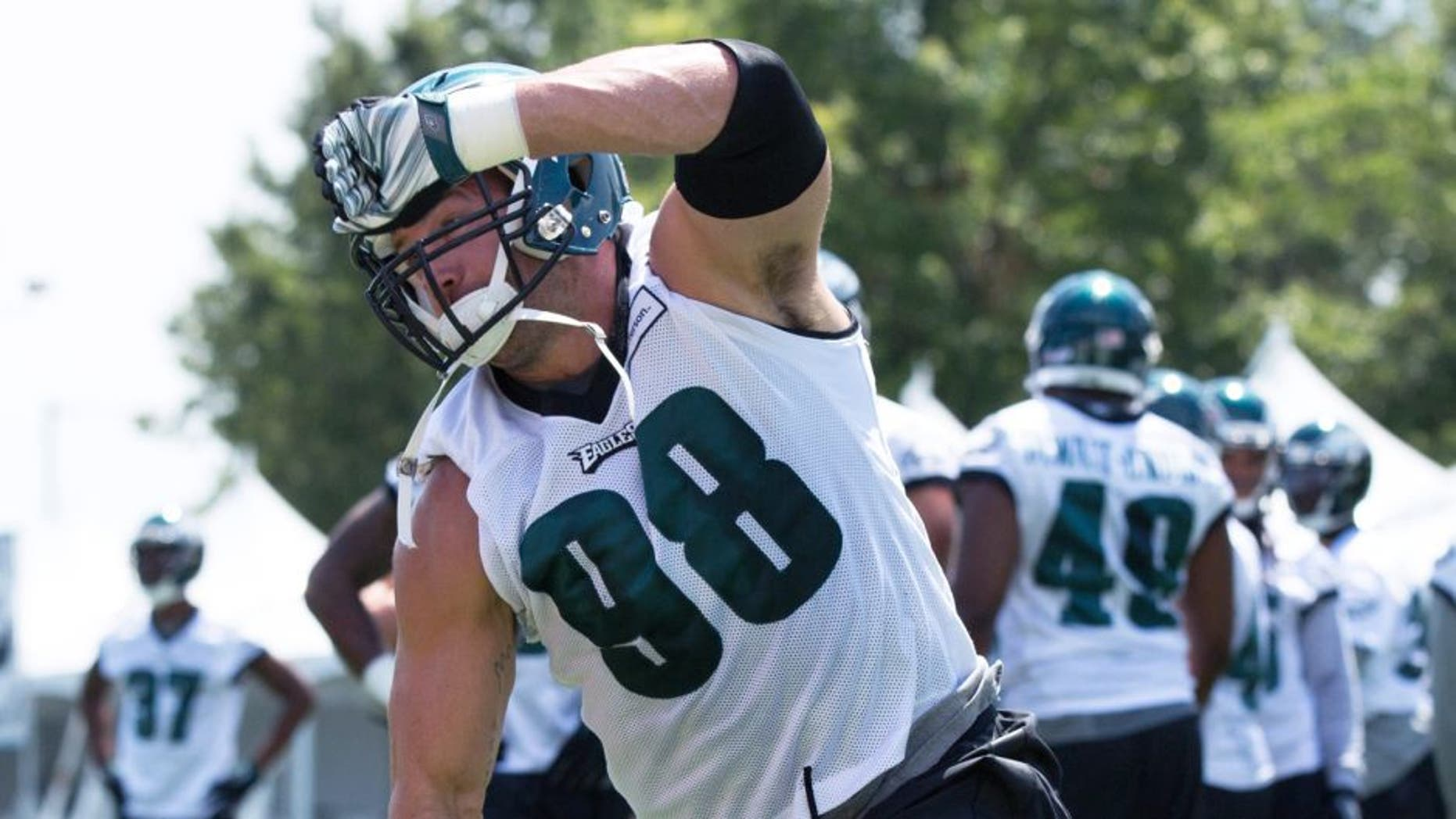 Aug 2, 2015; Philadelphia, PA, USA; Philadelphia Eagles outside linebacker Connor Barwin (98) during training camp at NovaCare Complex. Mandatory Credit: Bill Streicher-USA TODAY Sports