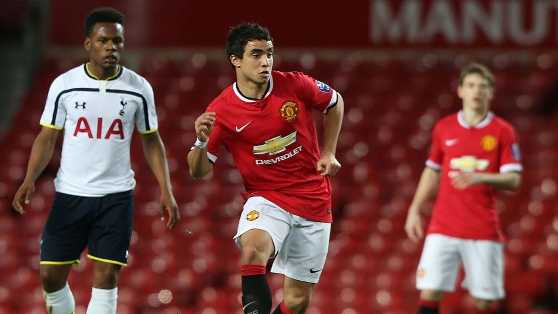 MANCHESTER, ENGLAND - MARCH 10: Rafael da Silva of Manchester United U21s in action during the Barclays U21 Premier League match between Manchester United and Tottenham Hotspur at Old Trafford on March 10, 2015 in Manchester, England. (Photo by Matthew Peters/Man Utd via Getty Images)