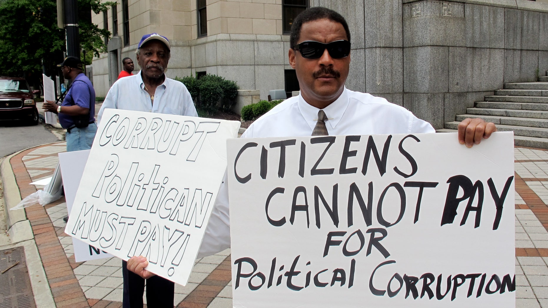 August 4 Protestors outside Jefferson County courthouse in Birmingham, Alabama.