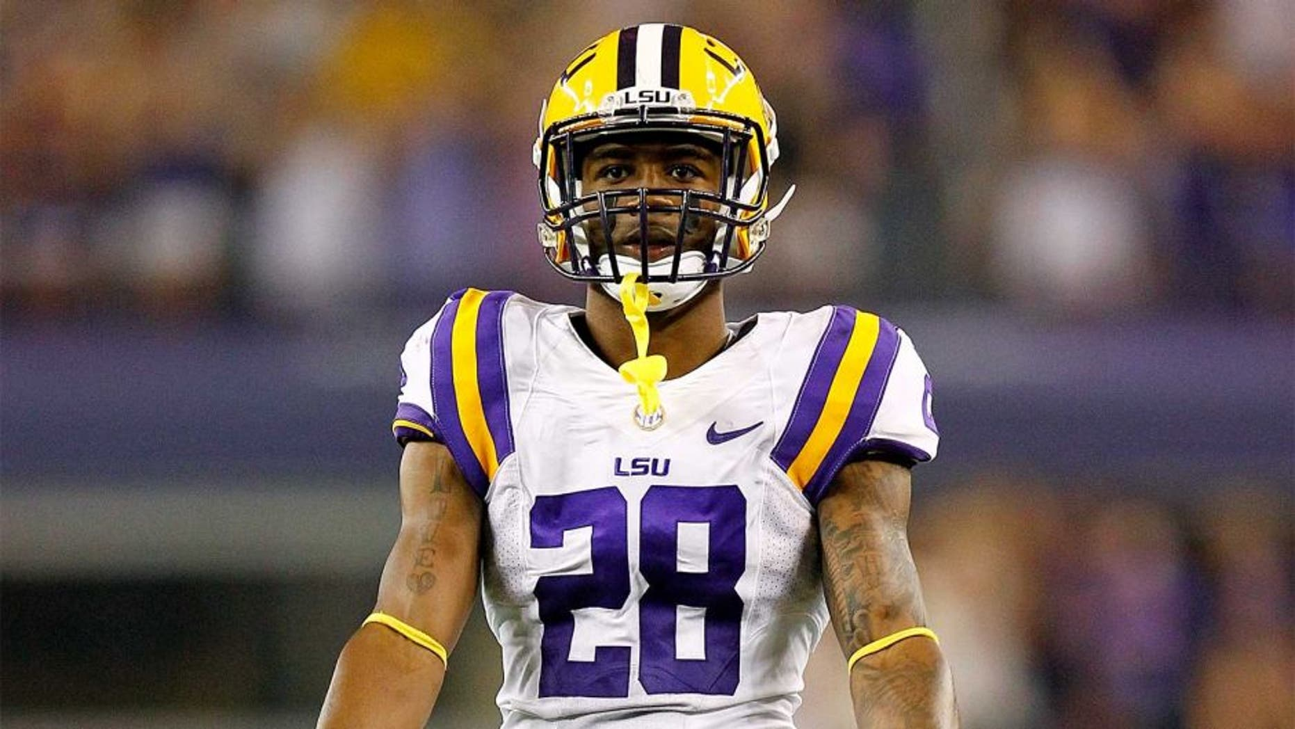 ARLINGTON, TX - AUGUST 31: Jalen Mills #28 of the LSU Tigers looks on during a game against the TCU Horned Frogs at Cowboys Stadium on August 31, 2013 in Arlington, Texas. (Photo by Sarah Glenn/Getty Images)