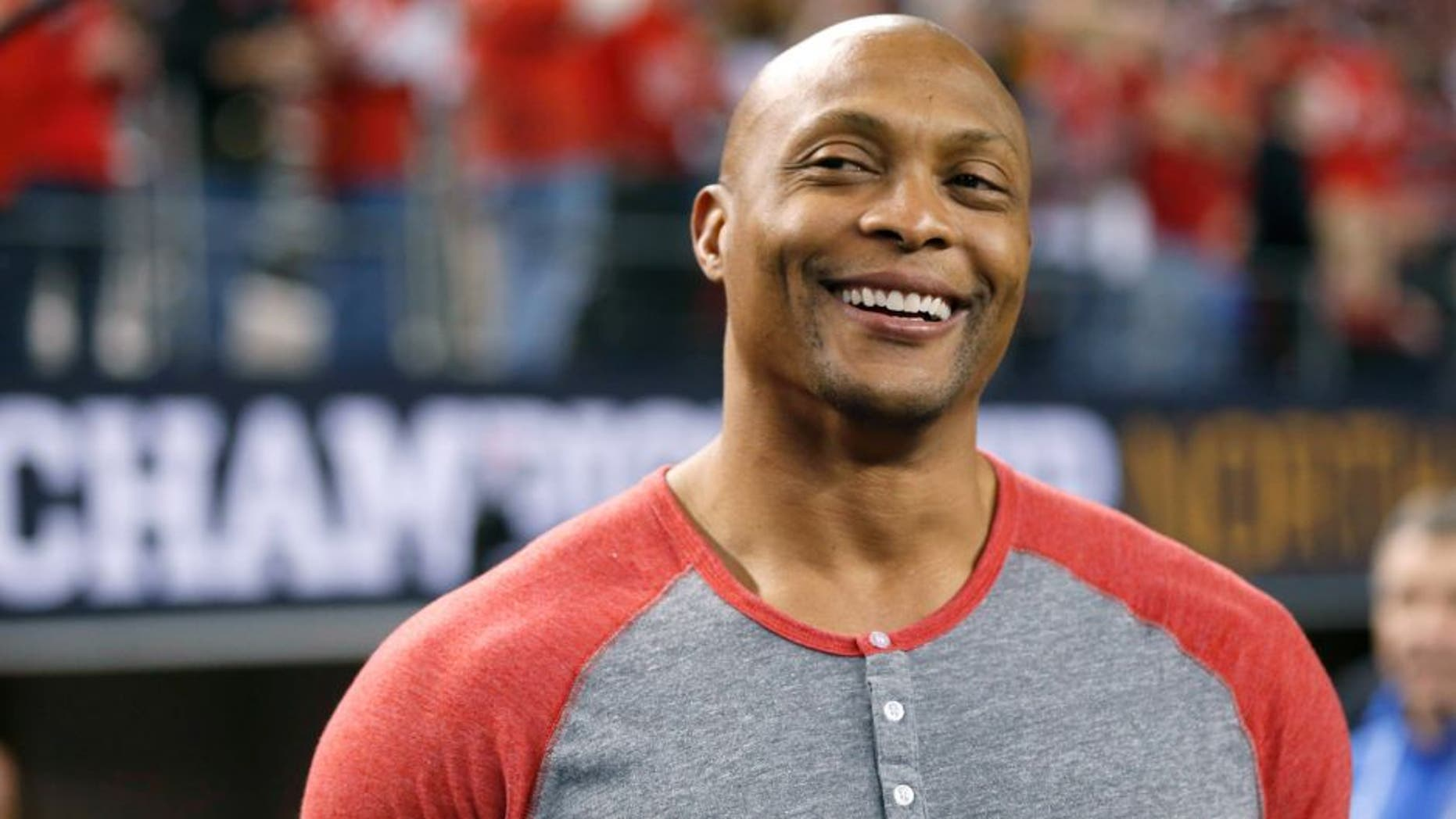Jan 12, 2015; Arlington, TX, USA; Ohio State Buckeyes former running back Eddie George before the 2015 CFP National Championship Game against the Oregon Ducks at AT&T Stadium. Mandatory Credit: Matthew Emmons-USA TODAY Sports