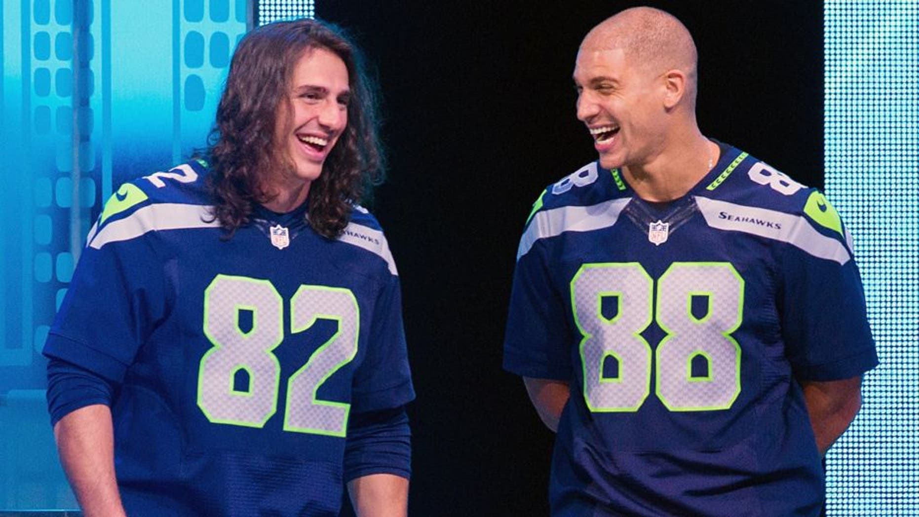 SEATTLE, WA - APRIL 23: (L-R) Seattle Seahwaks players Bobby Wagner, Luke Willson, Jimmy Graham speak on stage during We Day at KeyArena on April 23, 2015 in Seattle, Washington. (Photo by Mat Hayward/Getty Images)