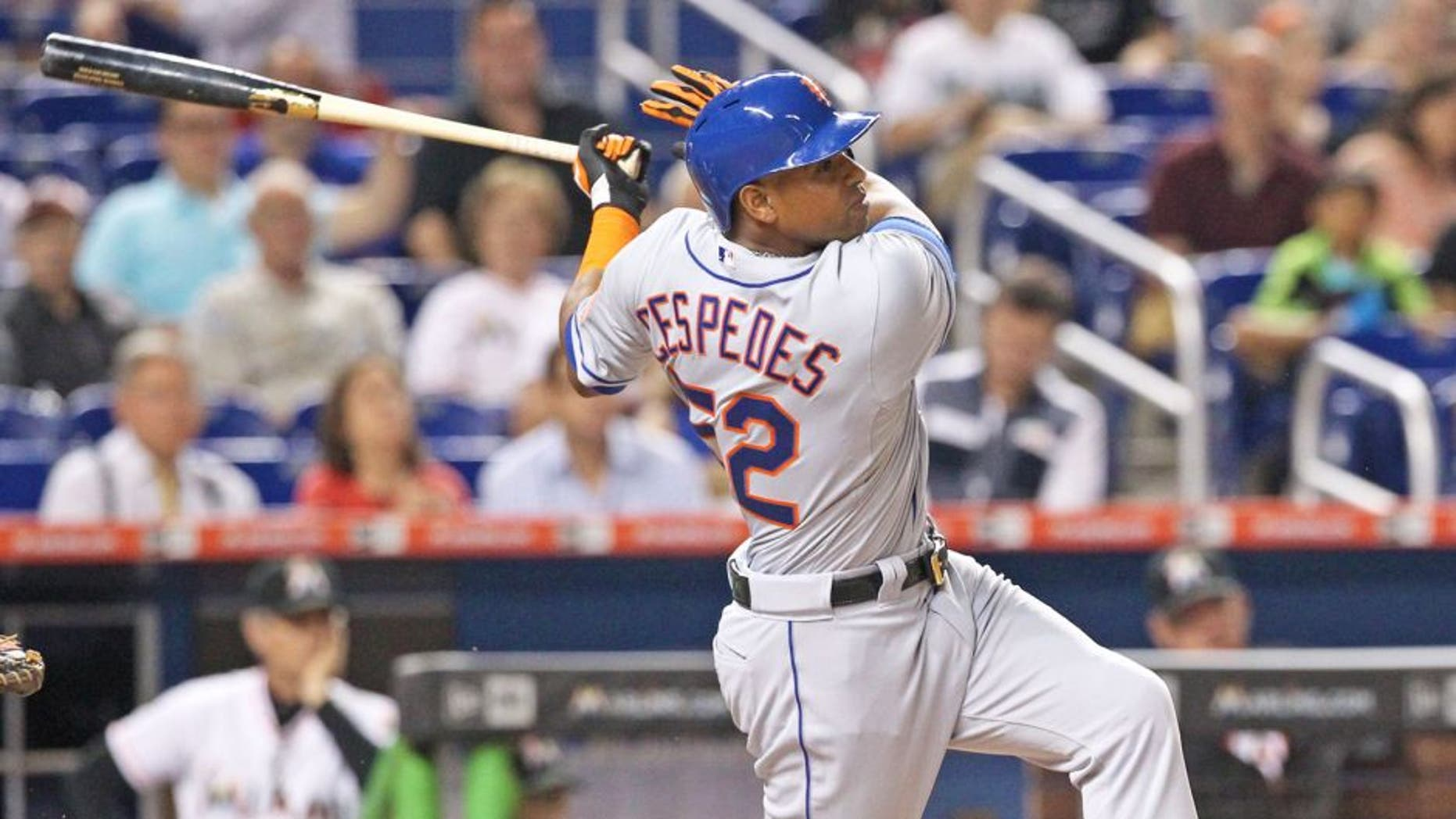 New York Mets' Yoenis Cespedes bats during the third inning on Monday, Aug. 3, 2015, at Marlins Park in Miami. (Hector Gabino/El Nuevo Herald/TNS via Getty Images)