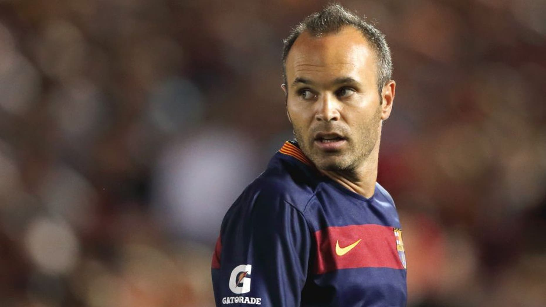 PASADENA, UNITED STATES - JULY 21: Andres Iniesta of FC Barcelona during the International Champions Cup 2015 match between FC Barcelona and Los Angeles Galaxy at Rose Bowl on July 21, 2015 in Pasadena, California. (Photo by Matthew Ashton - AMA/Getty Images)