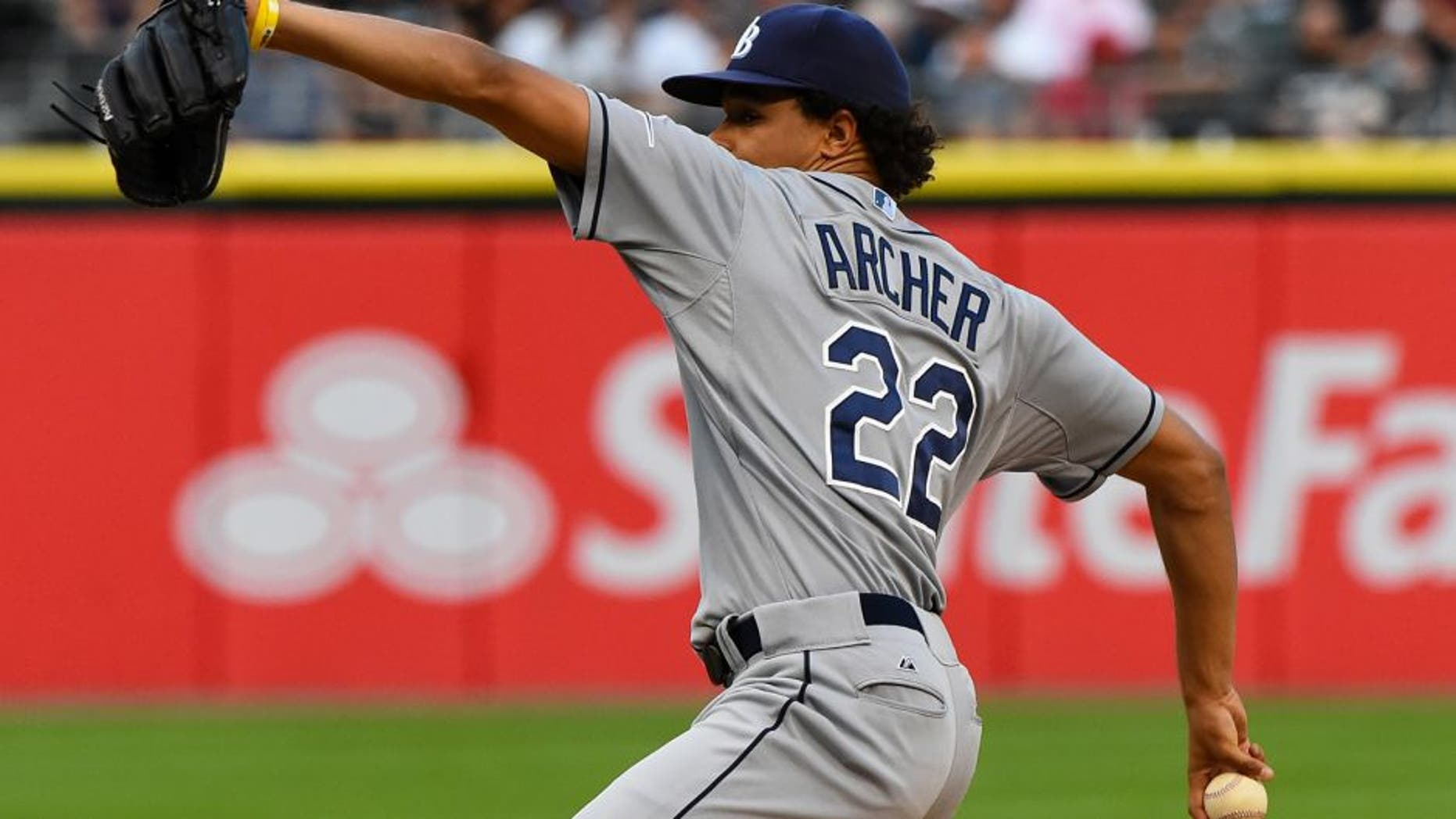 Aug 4, 2015; Chicago, IL, USA; Tampa Bay Rays starting pitcher Chris Archer (22) throws a pitch against the Chicago White Sox during the first inning at U.S Cellular Field. Mandatory Credit: Mike DiNovo-USA TODAY Sports