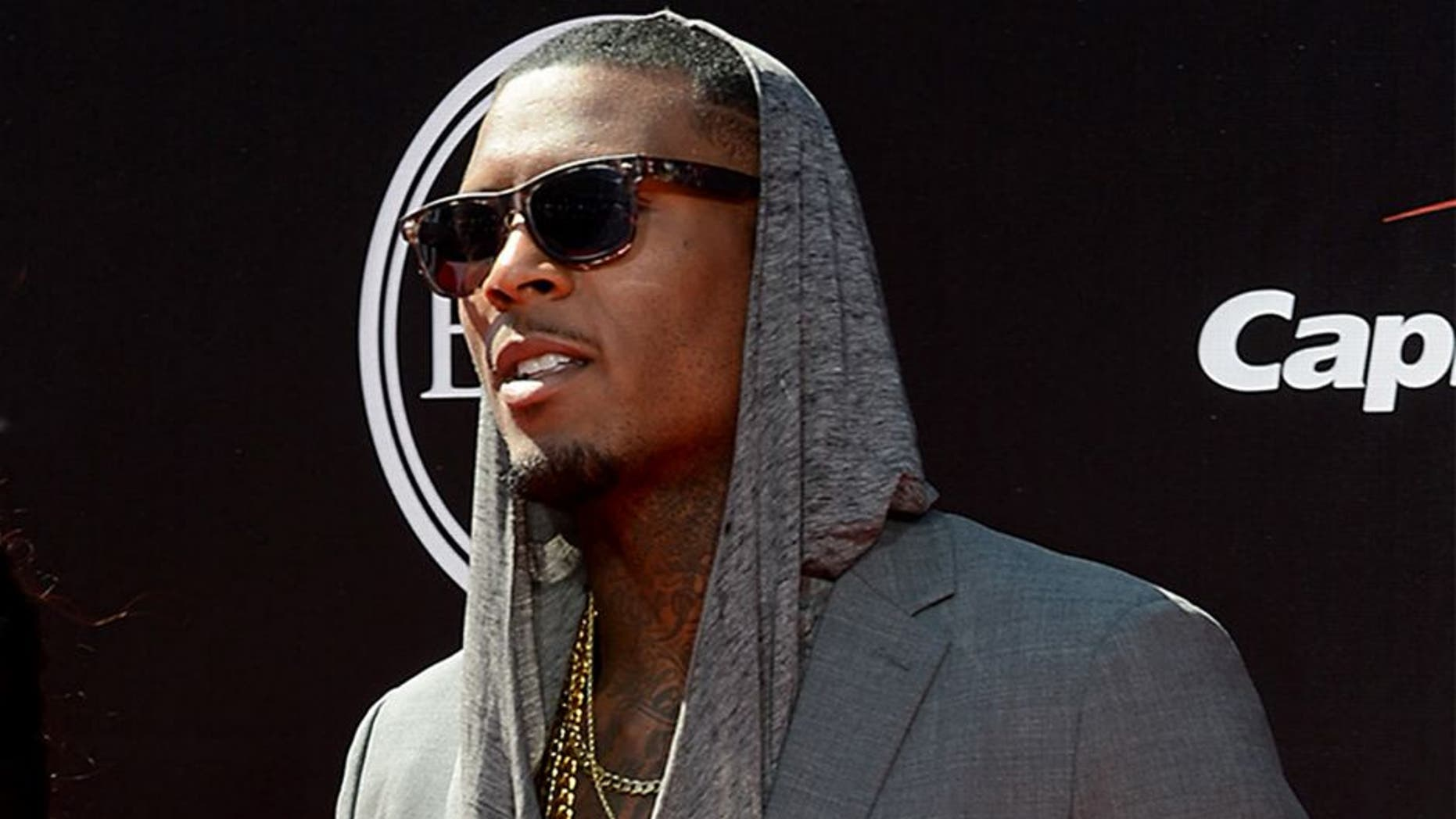 Jul 16, 2014; Los Angeles, CA, USA; San Francisco 49ers wide receiver Stevie Johnson (right) arrives at the 2014 ESPY Award show at Nokia Theatre. Mandatory Credit: Jayne Kamin-Oncea-USA TODAY Sports